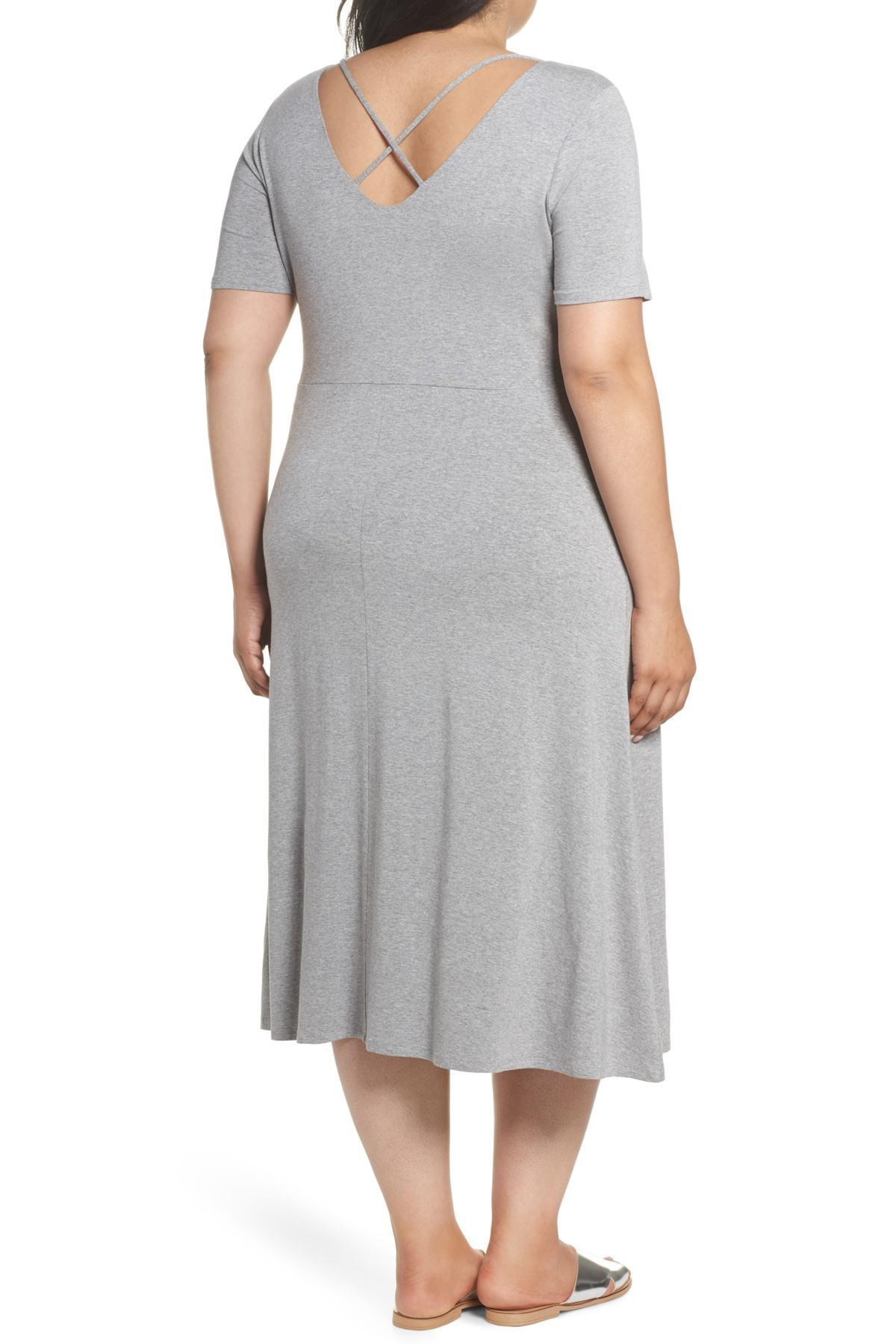 0214b08a1badb Lyst - Vince Camuto Cross Back Jersey A-line Dress (plus Size) in Gray