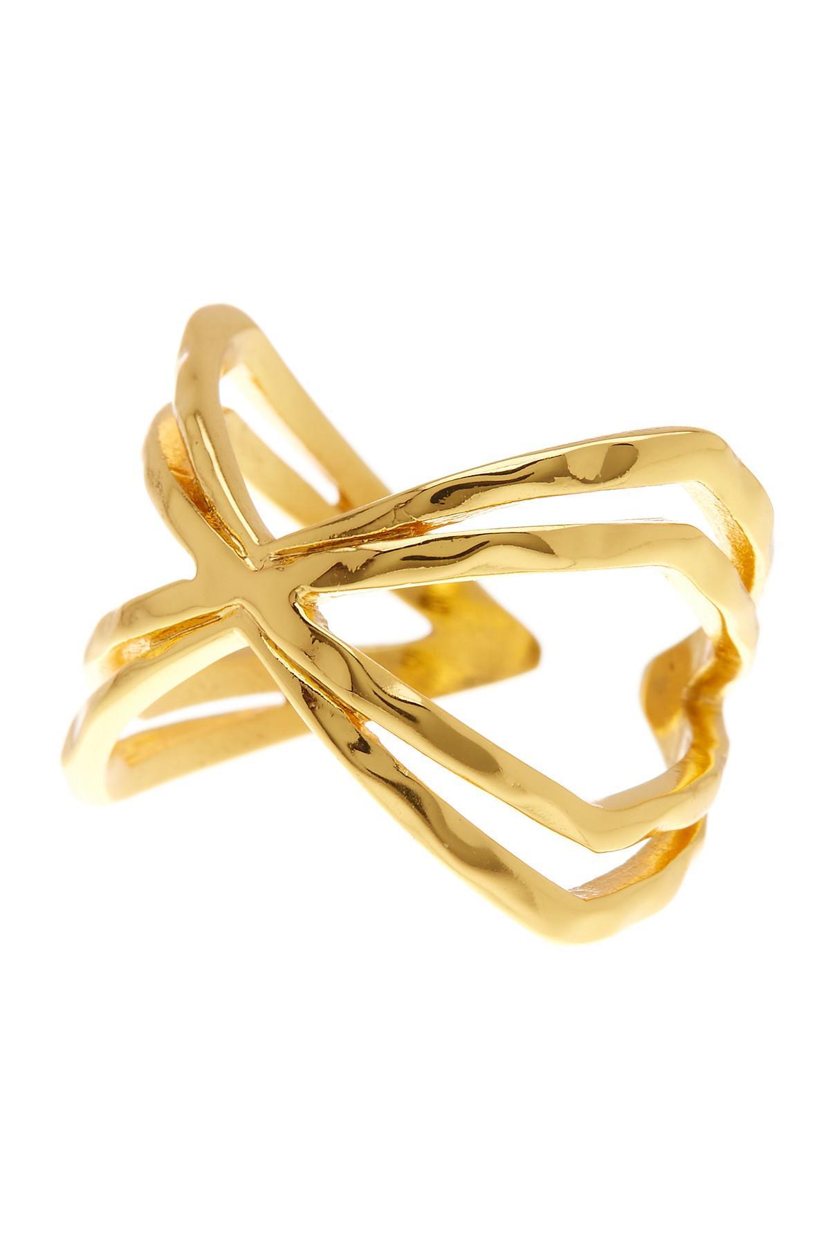 Gorjana Skyler Crisscross Cuff Ring, Size 7