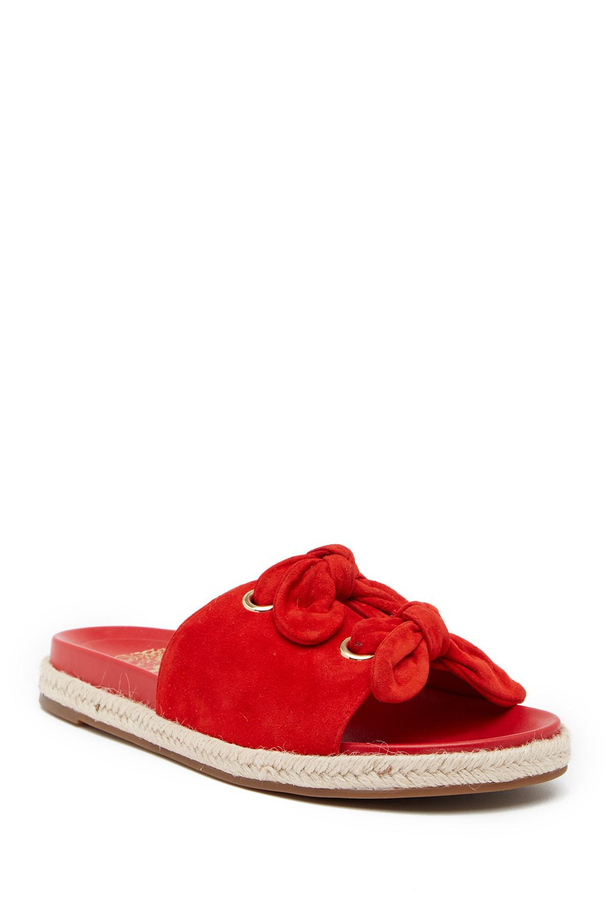 124ff3b53a6 Lyst - Vince Camuto Jazzan Tied Suede Slide Sandal in Red