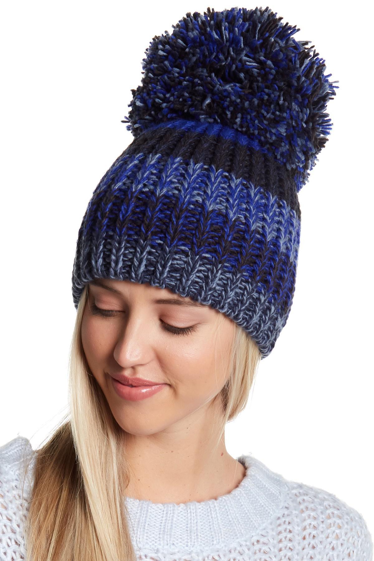 44078d1ca BCBGMAXAZRIA Blue Fringe Pompom Knit Party Beanie