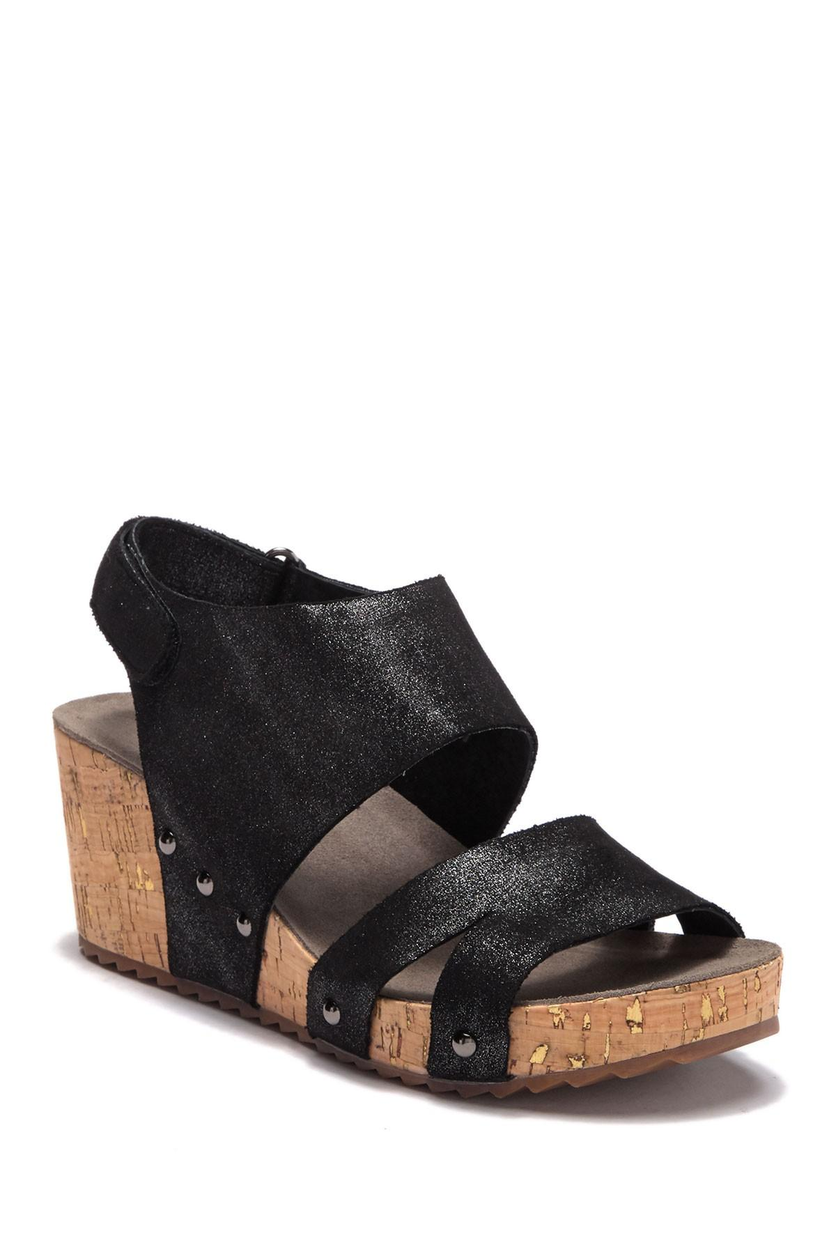 5a45b3aa129 Lyst - Antelope Platform Wedge Cork Sandal in Black