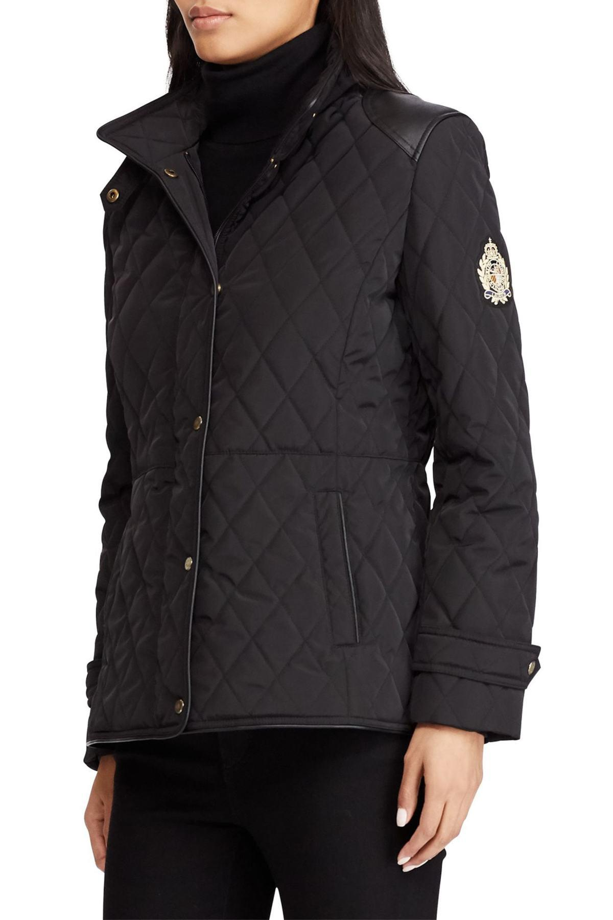 Lauren by Ralph Lauren Quilted Faux Leather Trim Jacket ...