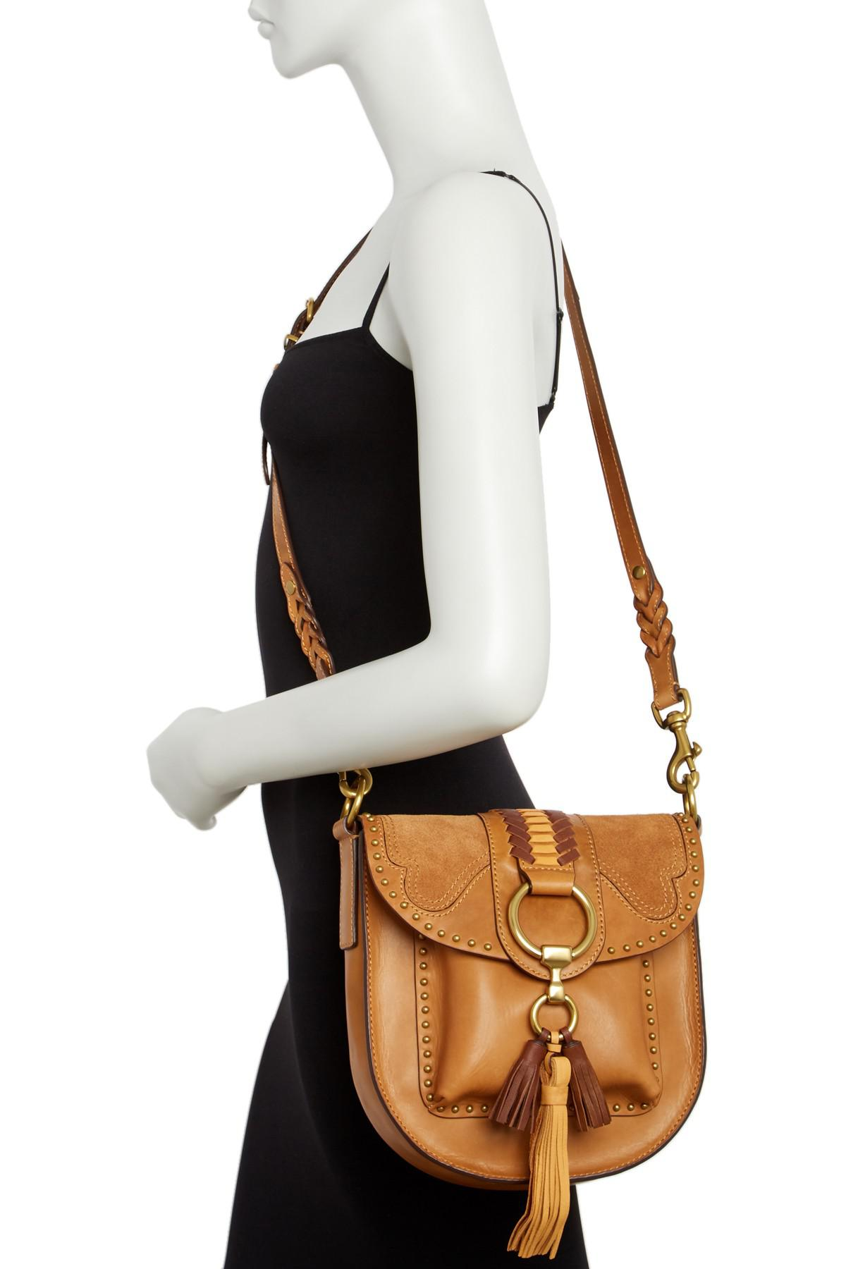 f4b04dbc2 Frye Ilana Western Leather Suede Saddle Crossbody Bag in Black - Lyst
