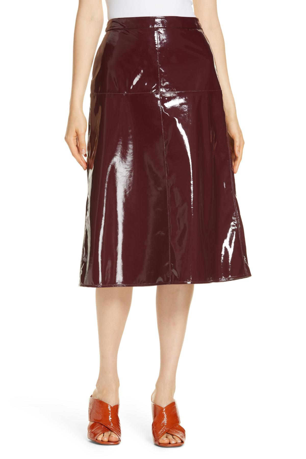 49ce0e54b3 LEWIT Patent Leather Midi Skirt in Red - Lyst