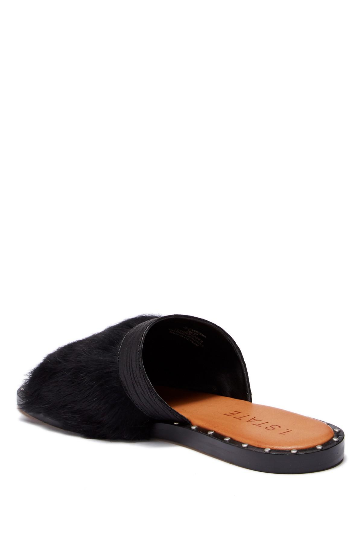1.State Carrisma Leather & Rabbit Fur Slide Sandal