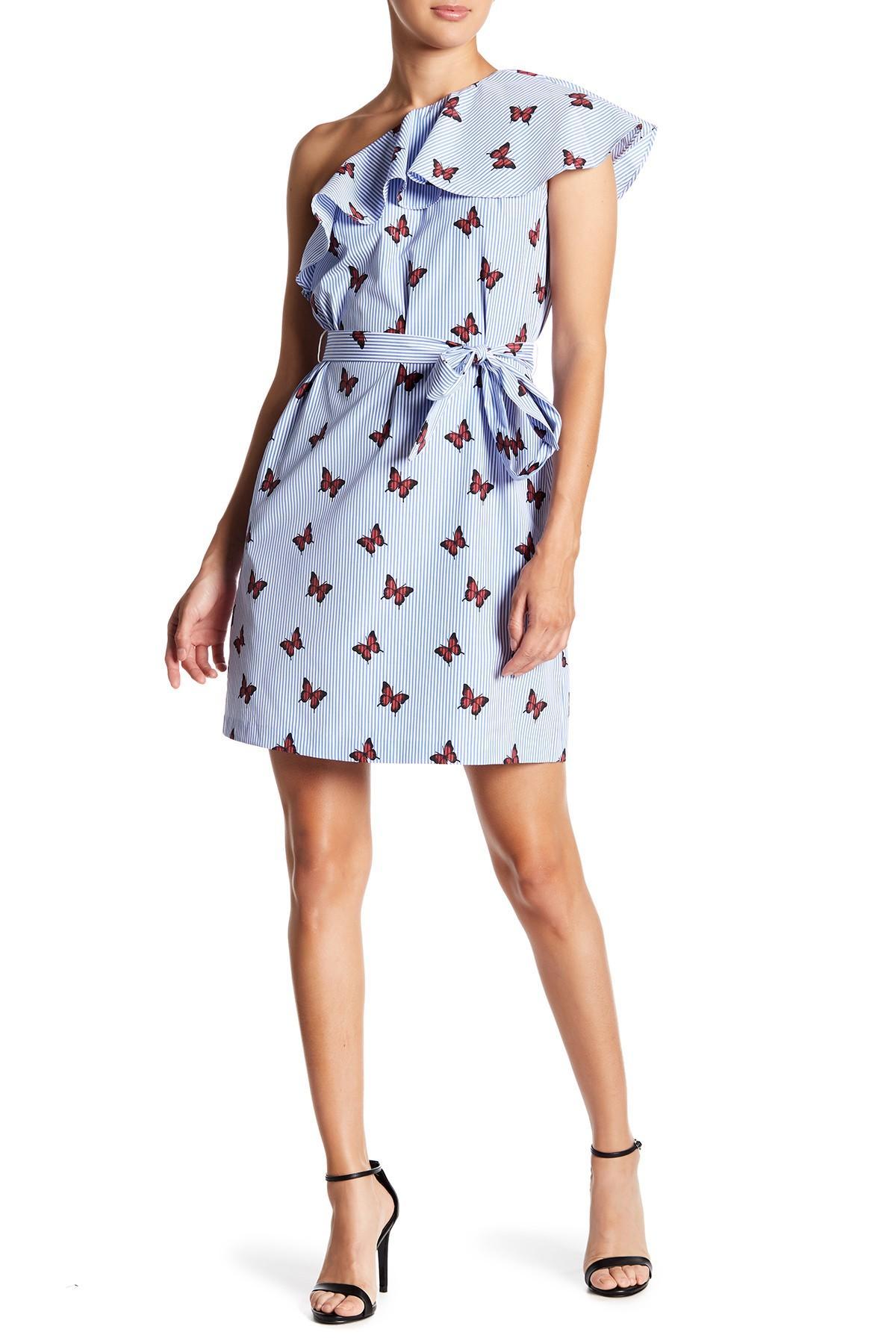 91b70ef9465 Lyst - Donna Morgan One-shoulder Butterfly Ruffle Dress in Blue