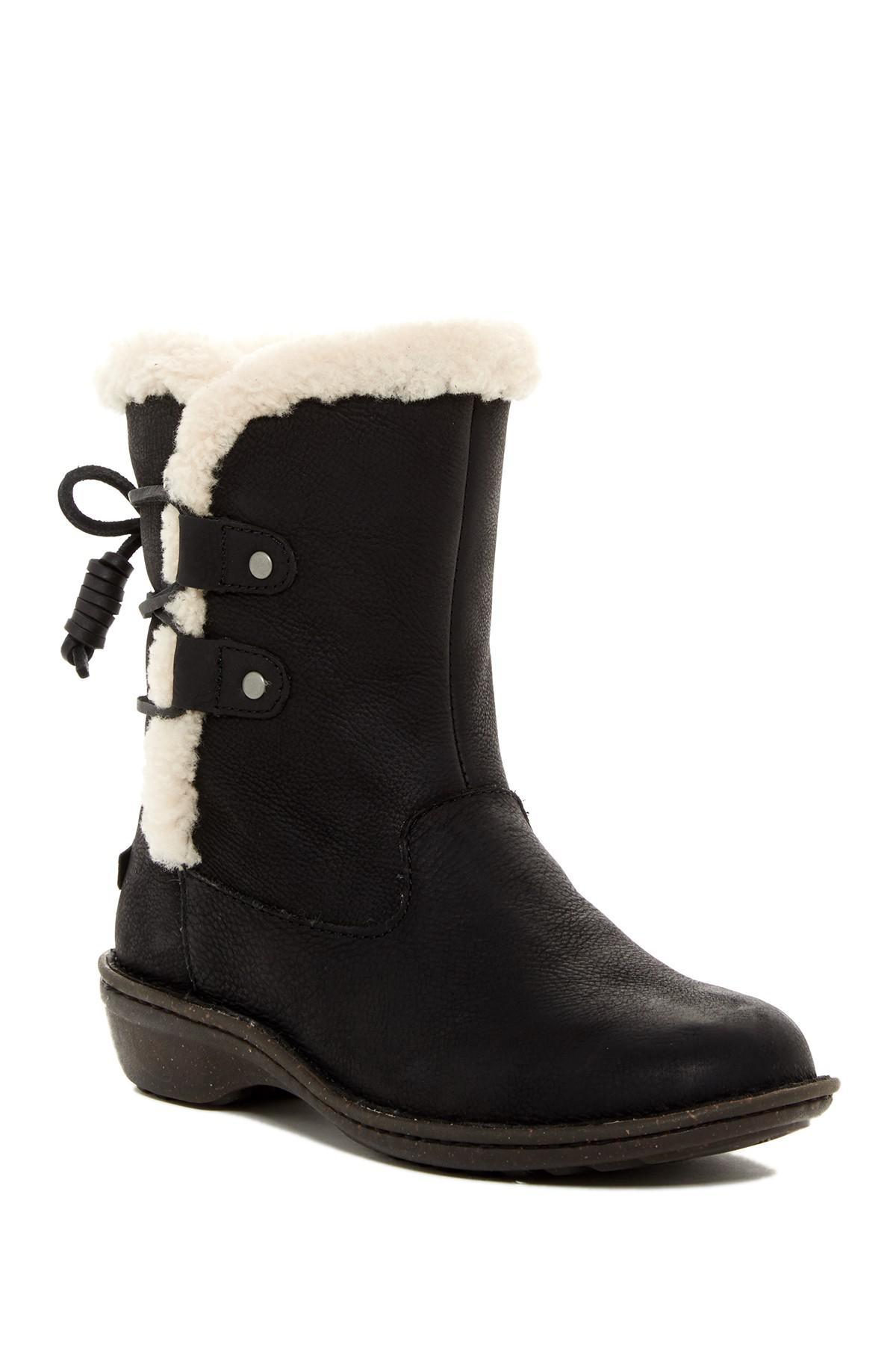 21525b0bc6f Ugg Black Akadia Genuine Sheepskin Lace-up Boot
