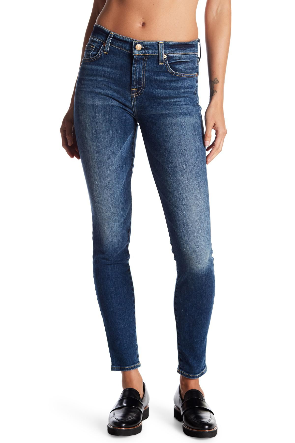 lyst 7 for all mankind the skinny jeans in blue. Black Bedroom Furniture Sets. Home Design Ideas