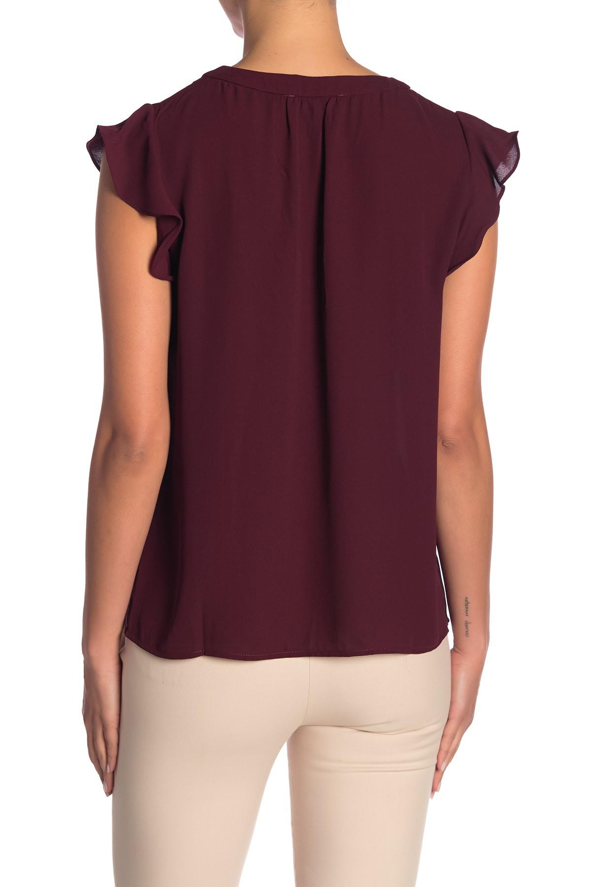 ff8986b9b11940 Philosophy Apparel - Purple Solid Ruffle Sleeve Blouse - Lyst. View  fullscreen