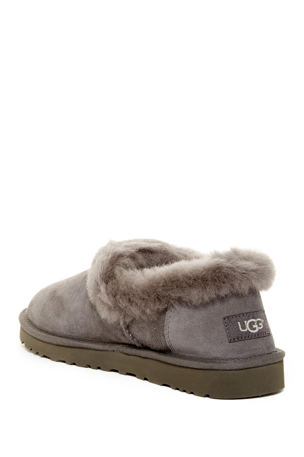 bafbf29c3d9 Lyst - UGG Nita Genuine Shearling Trim Slipper in Gray