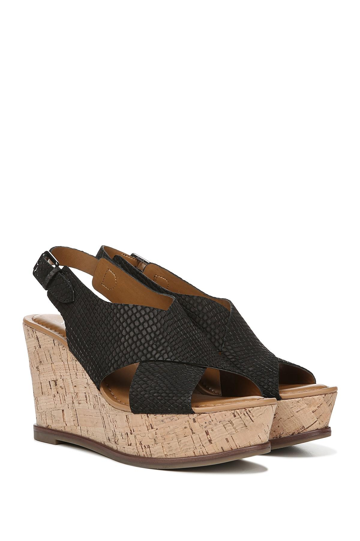 12d5c338d9 Franco Sarto - Black Mackenzie Snake Embossed Leather Wedge Sandal - Lyst.  View fullscreen