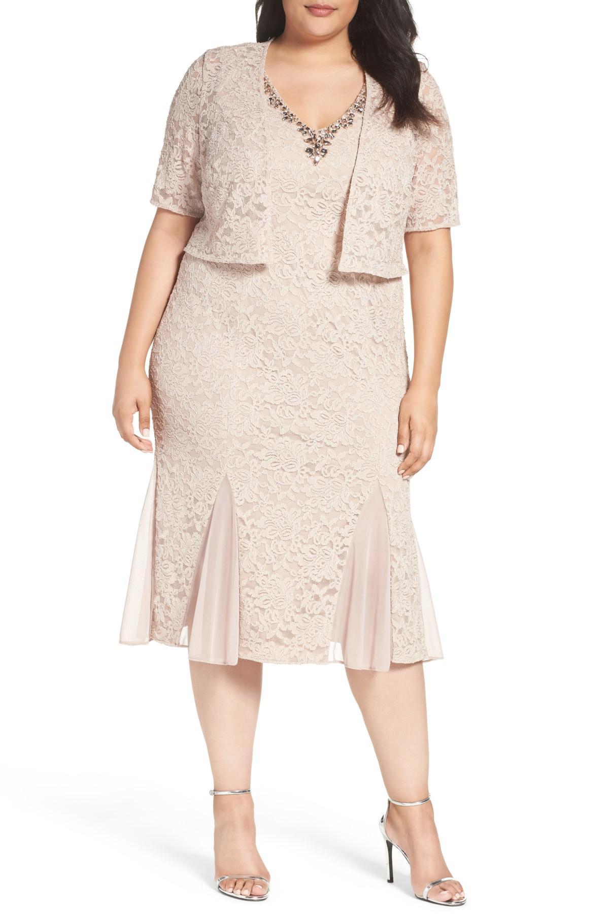 Alex Evenings Multicolor Embellished Lace Tea Length Dress With Bolero  Jacket (plus Size)