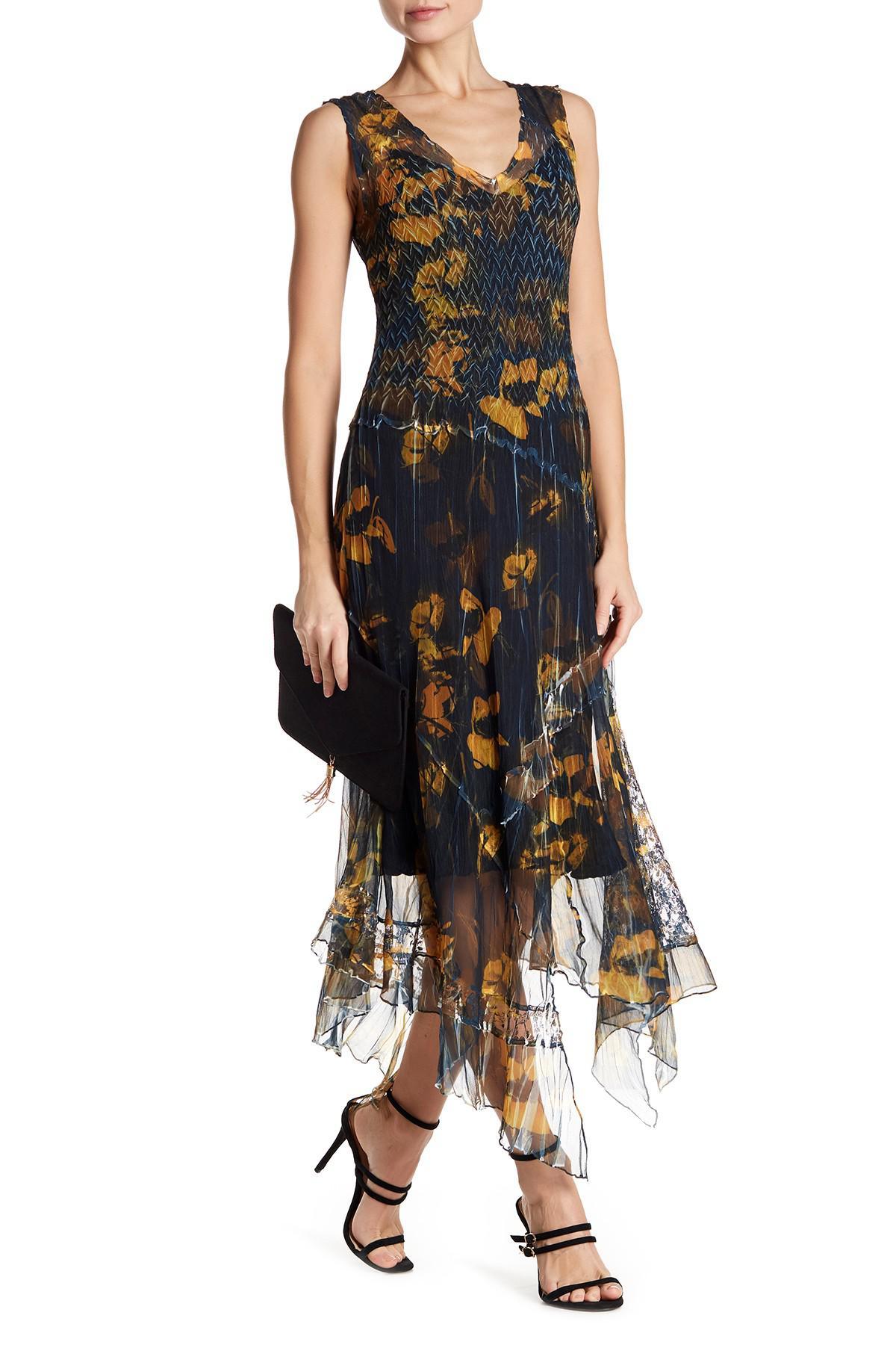 9a14881343 Lyst - Komarov Asymmetrical Hem V-neck Printed Dress in Black