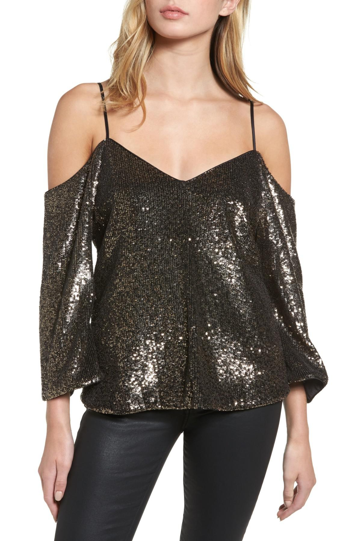 c20a3e26ded4d3 Lyst - Bardot Sequin Cold Shoulder Top in Metallic