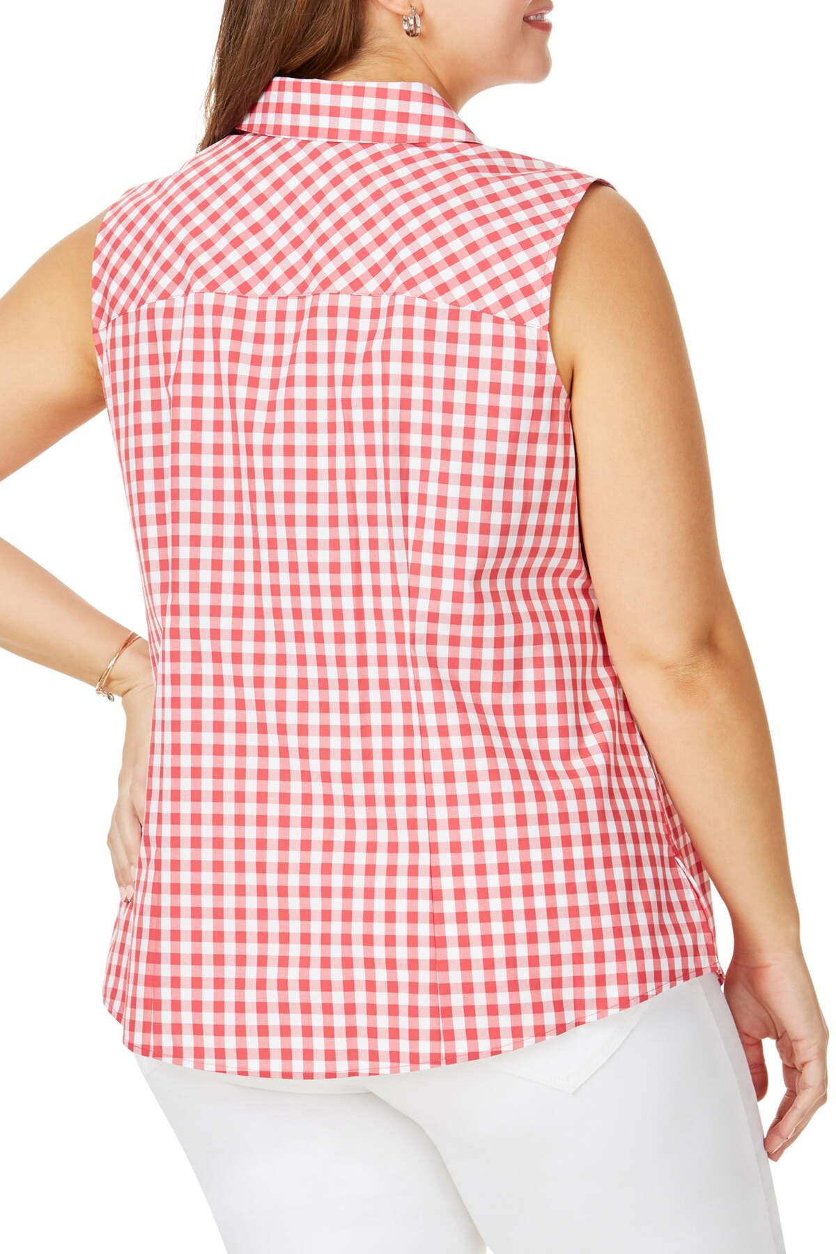 New Womens Plus Size Sleeveless Pintuck Front Ruched Back 100/% Cotton Blouse Top