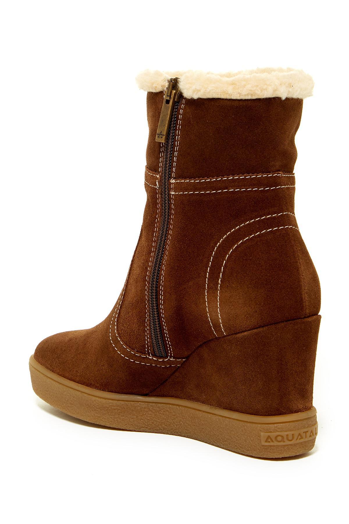 b654f4e1dd99 Aquatalia Cindy Faux Fur Wedge Boot in Brown - Lyst