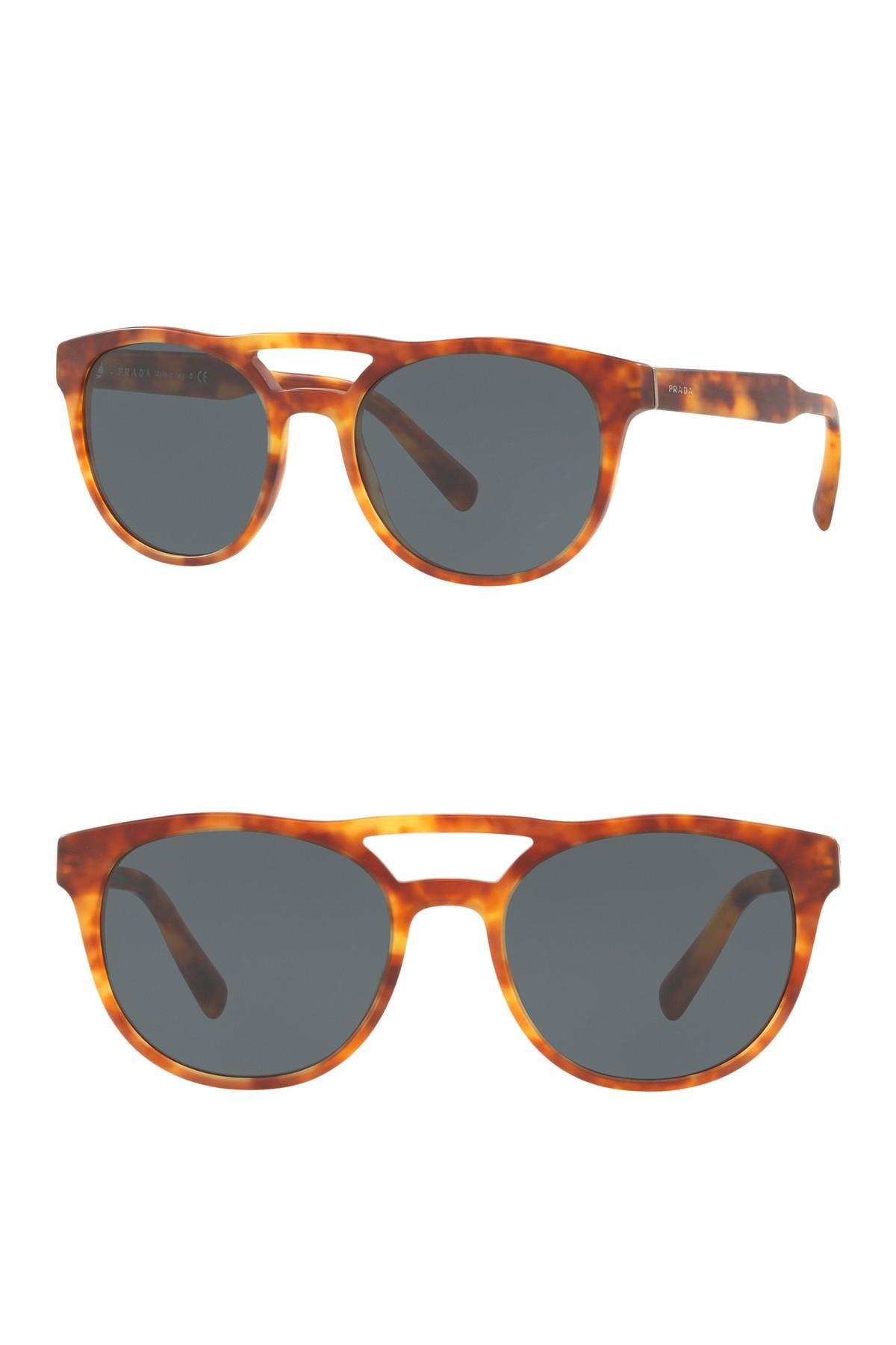 9f37abe008 Prada - Multicolor 54mm Round Aviator Sunglasses for Men - Lyst. View  fullscreen