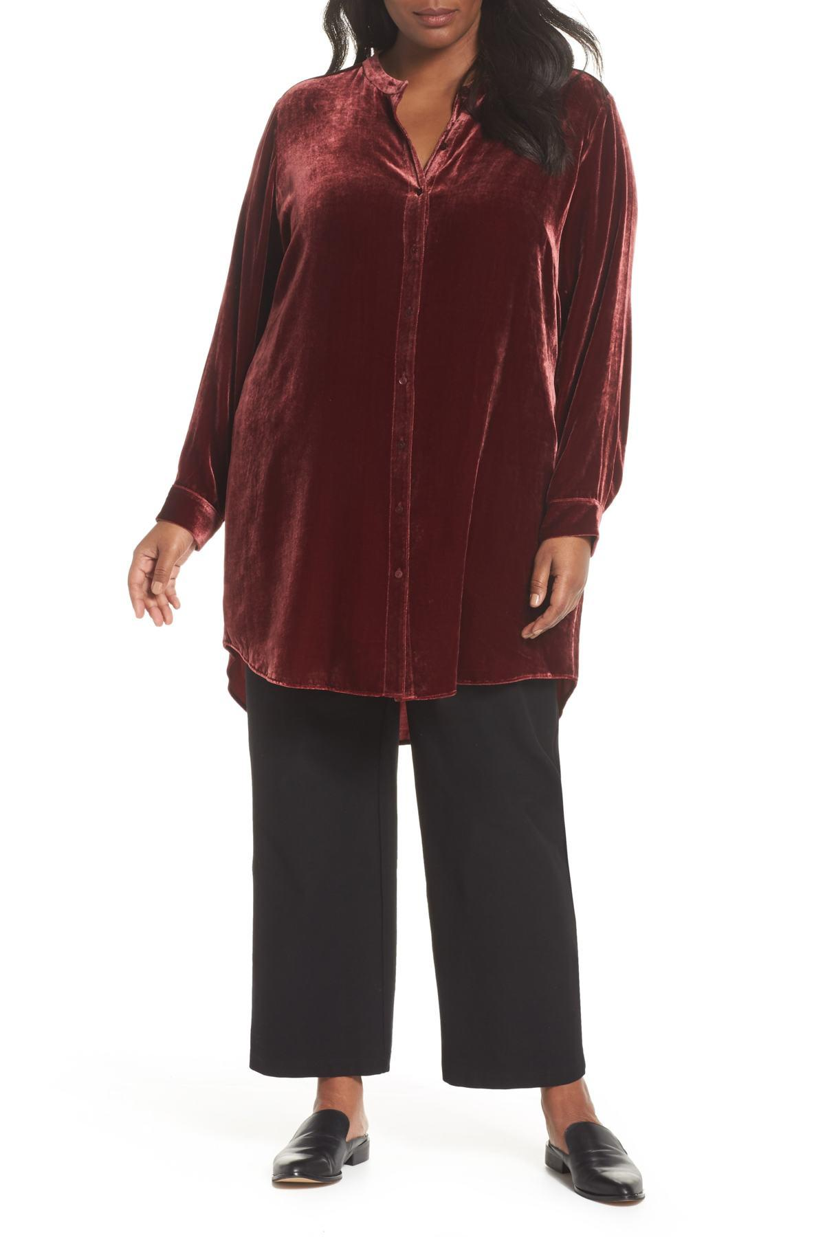 49140e5f33aad Lyst - Eileen Fisher Long Velvet Shirt (plus Size) in Red - Save ...
