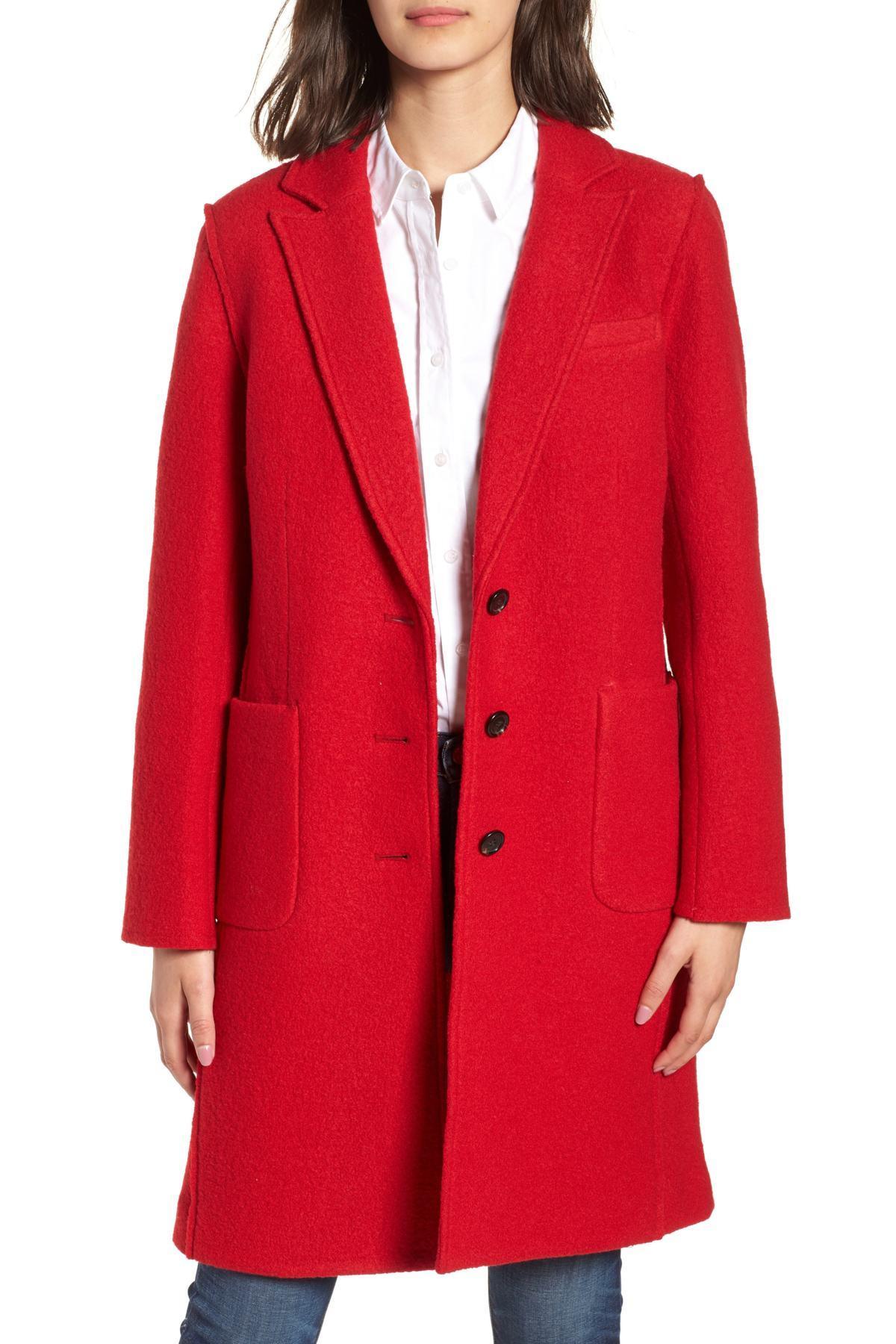 1c242b08732 Lyst - J.Crew Olga Boiled Wool Topcoat (regular   Petite) in Red ...