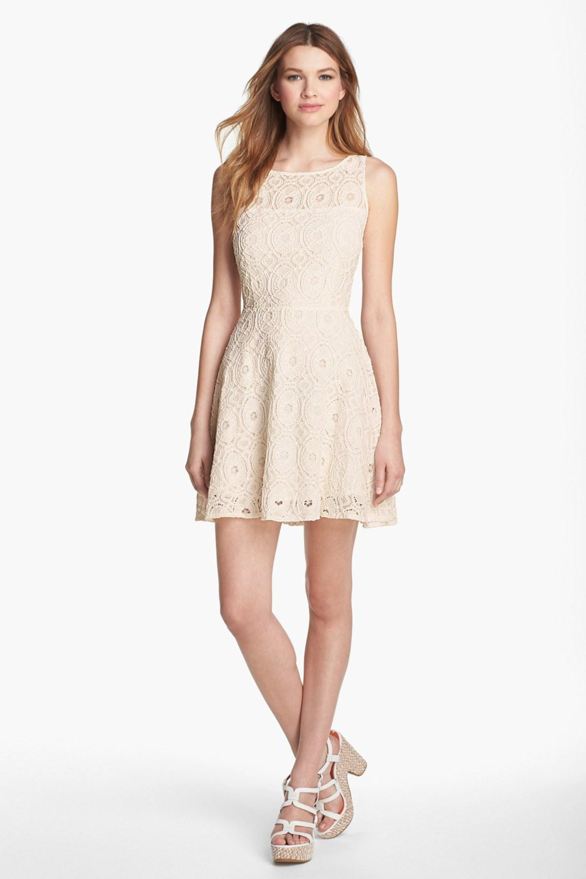Bb Dakota Renley Lace Fit And Flare Dress In French Blue