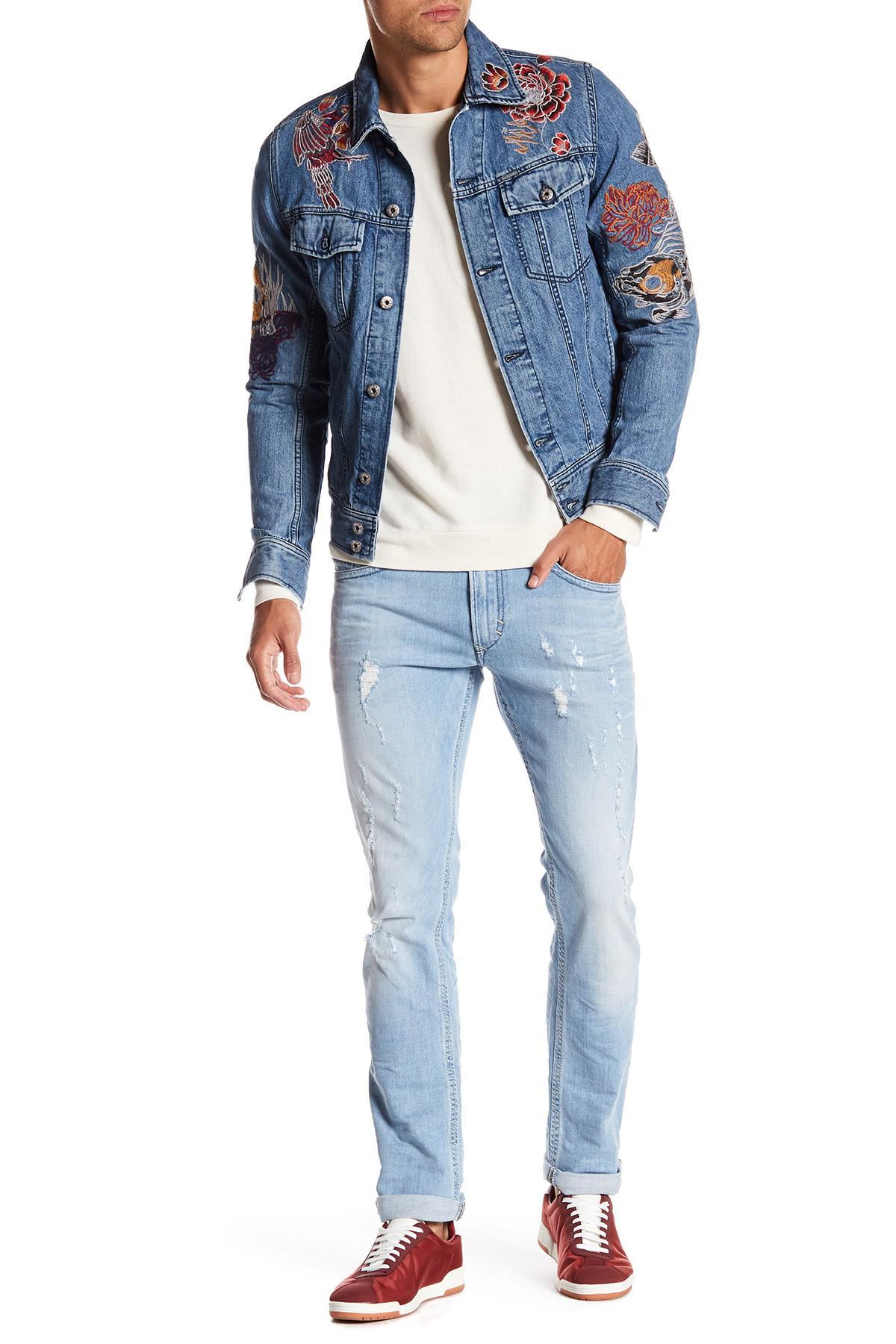 lyst diesel thavar slim skinny jeans in blue for men