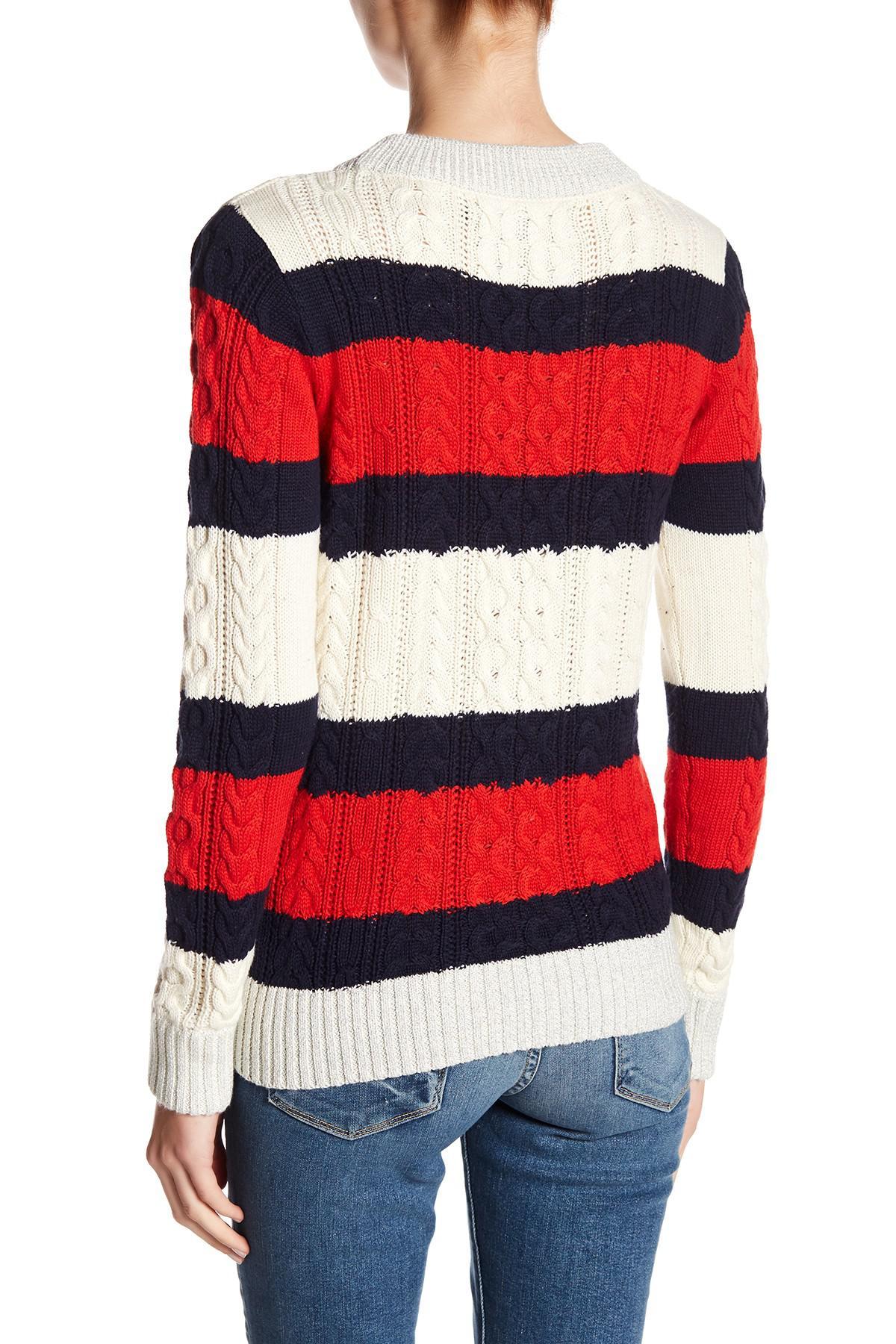 Vero Moda Knitting Patterns : Lyst vero moda striped knit sweater in red