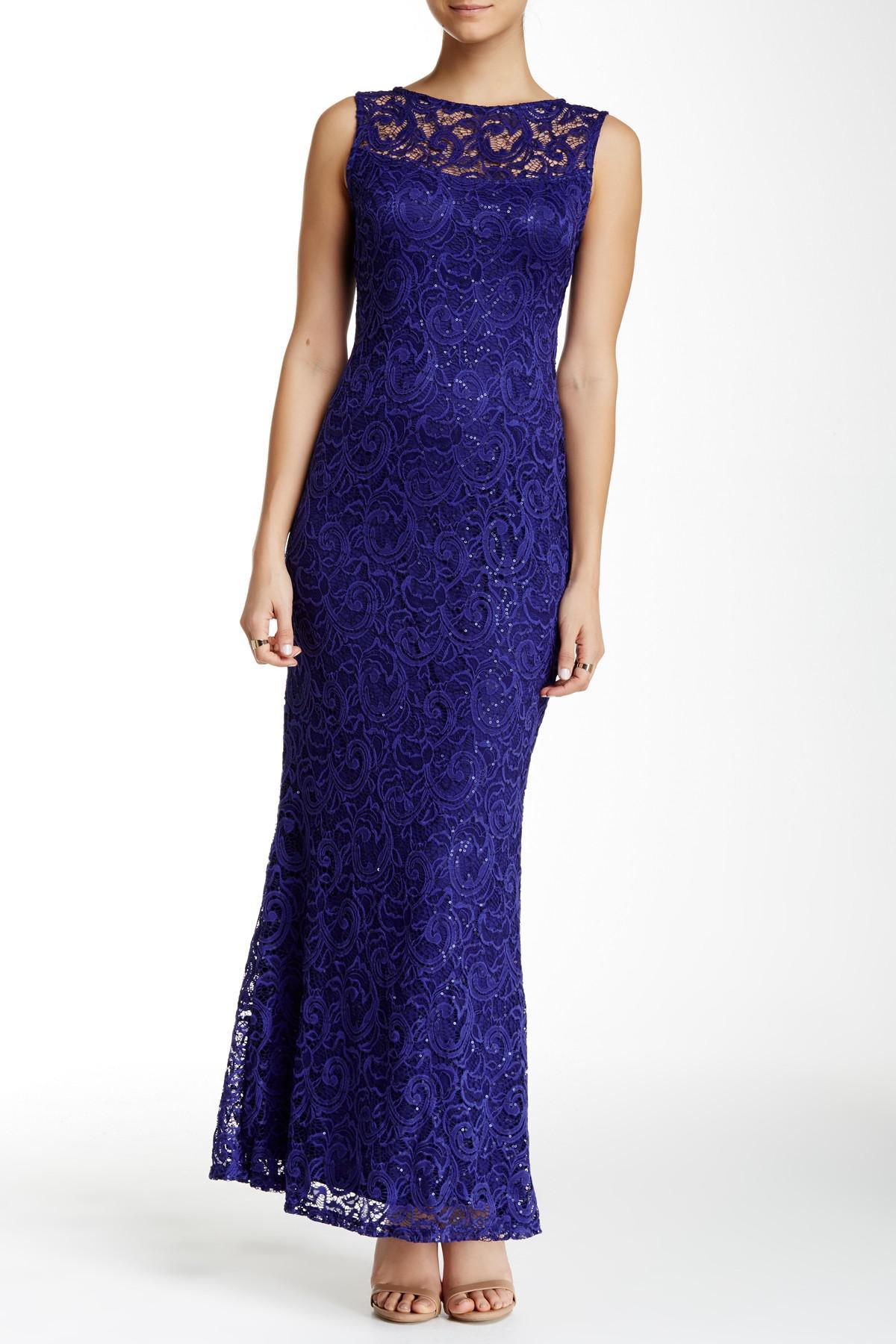 9725fcabf91da5 Lyst - Marina Sleeveless Illusion Yoke Lace Gown in Purple