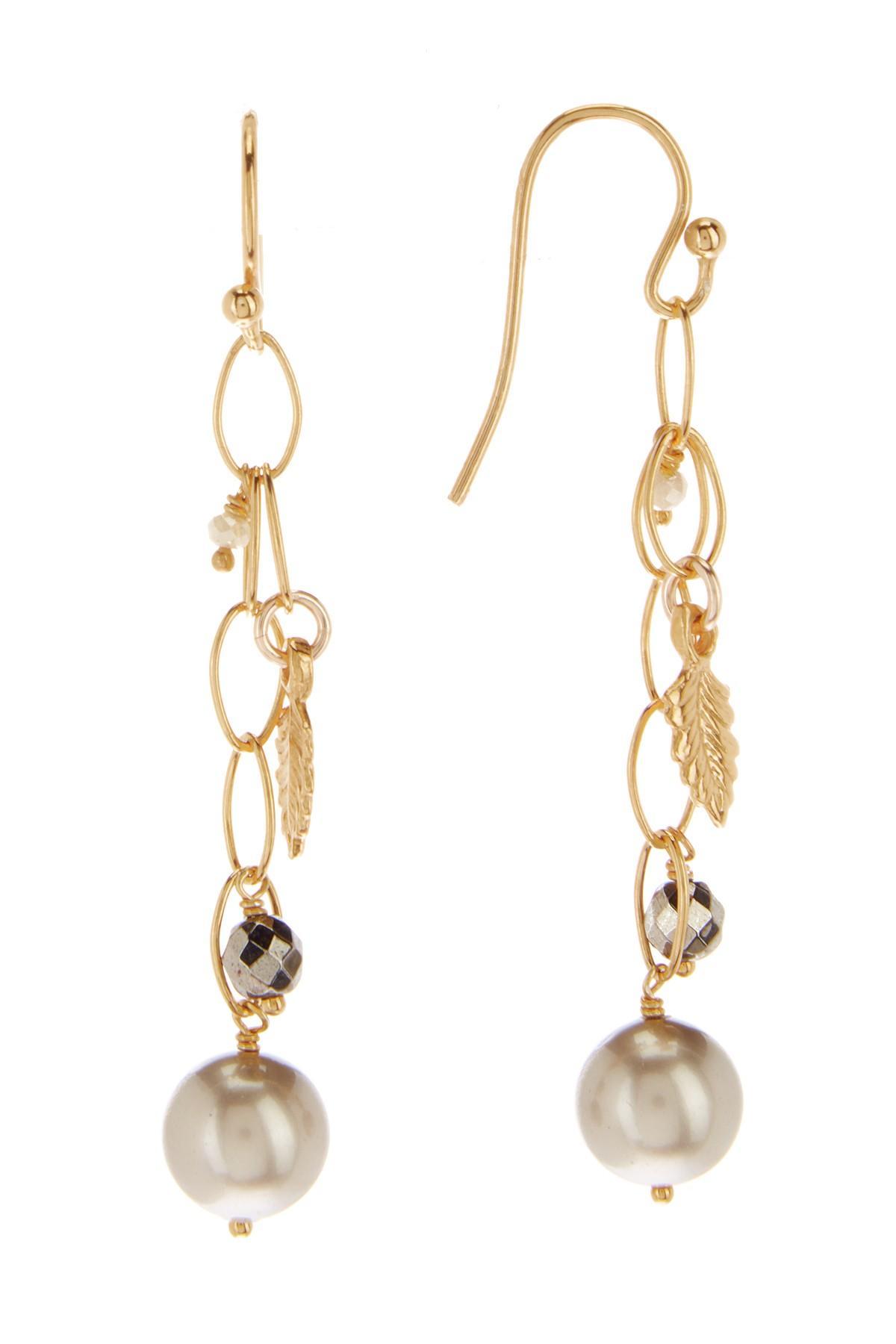 3590955b6 Chan Luu. Women's Metallic 18k Yellow Gold Plated Sterling Silver Chain  Drop Swarovski Pearl Accented Earrings