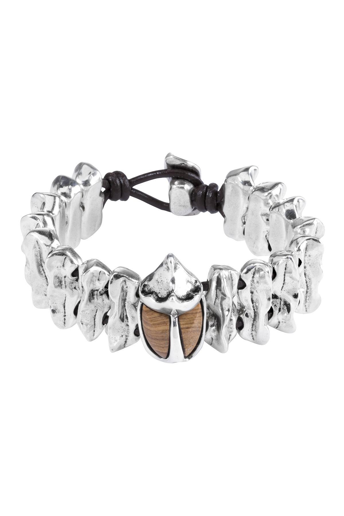 6ba53b7d67ebb Lyst - Uno De 50 Micron Silver Plated Metal Leather Bracelet in Brown