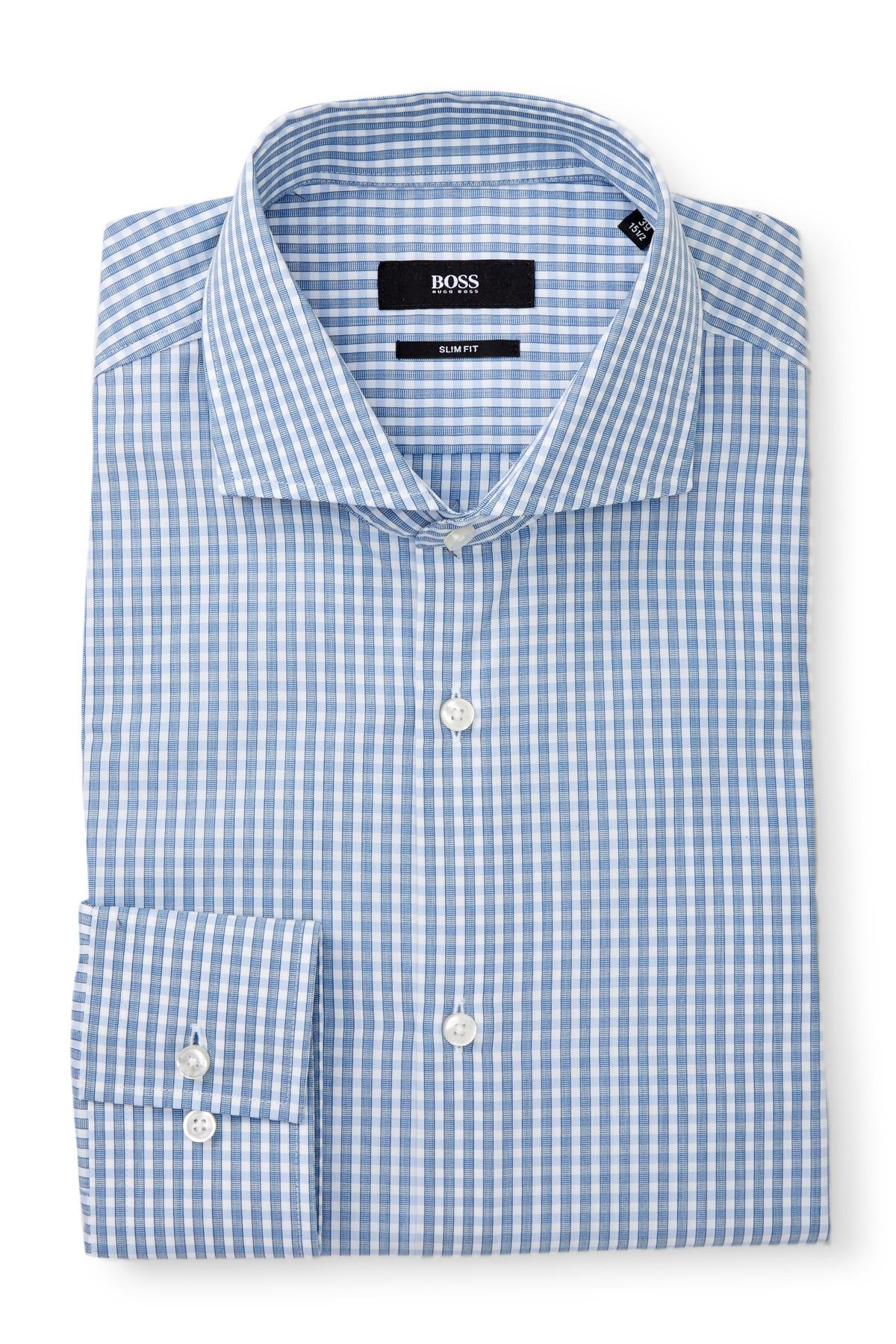 Lyst boss jason checked extra trim fit dress shirt in for Extra trim fit dress shirt