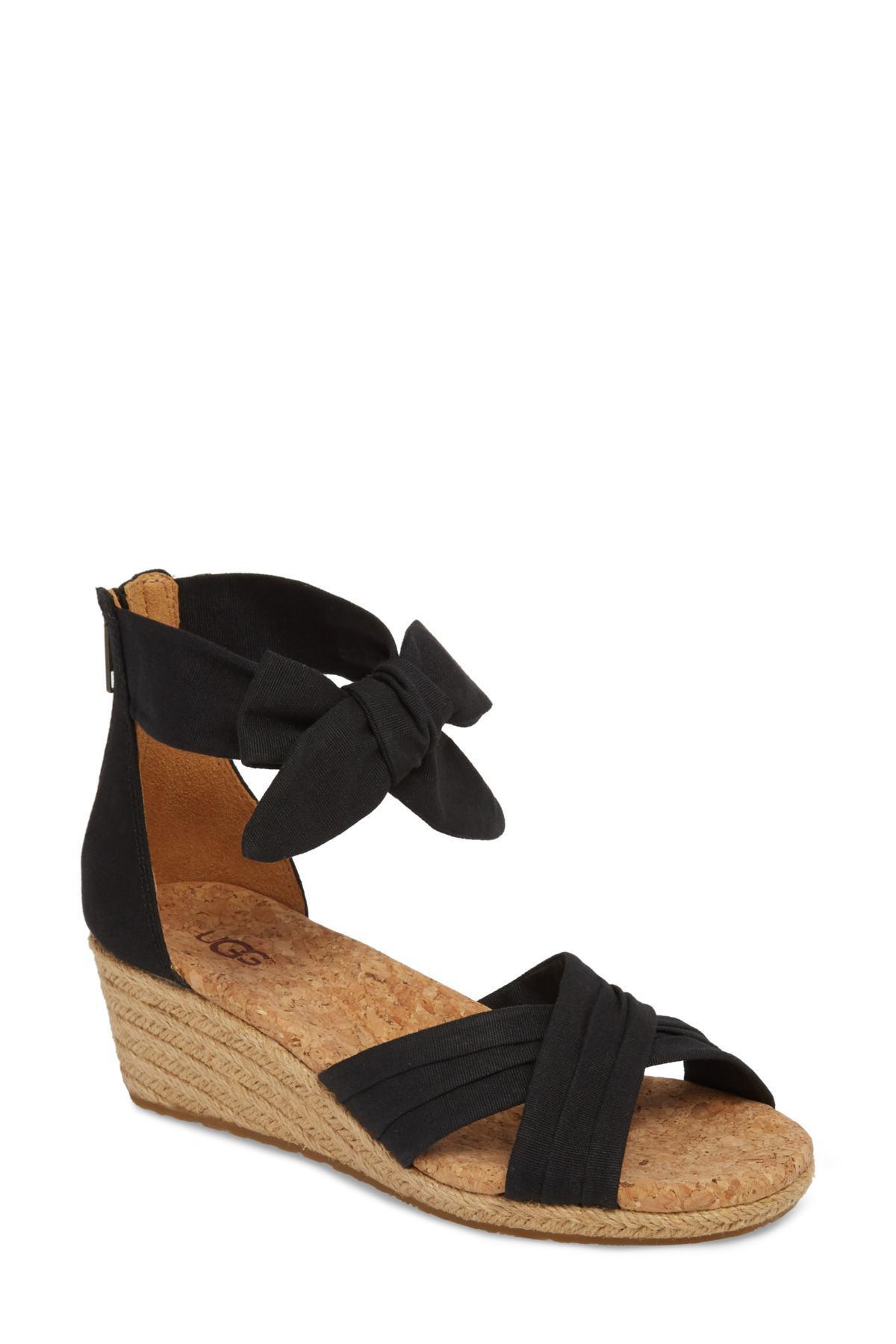 e79bfe5a2f8 Ugg Black (r) Traci Espadrille Wedge Sandal (women)