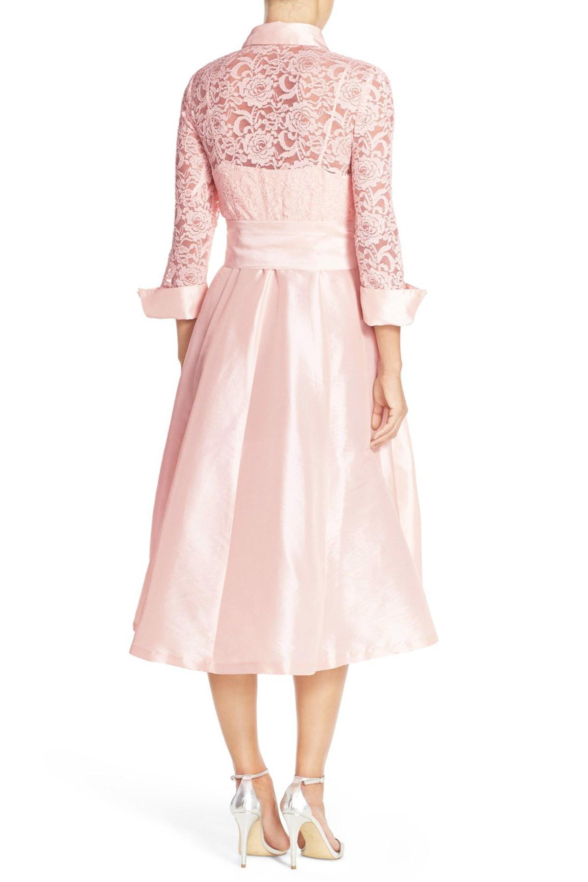 Eliza J Belted Lace Amp Taffeta Point Collar Midi Dress In