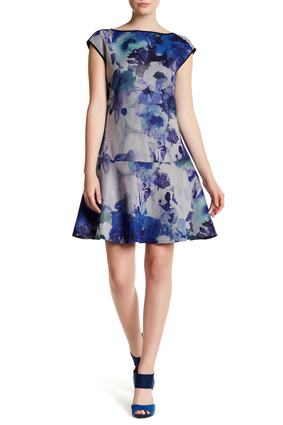 Abs By Allen Schwartz Cap Sleeve Back Tie Floral Dress In