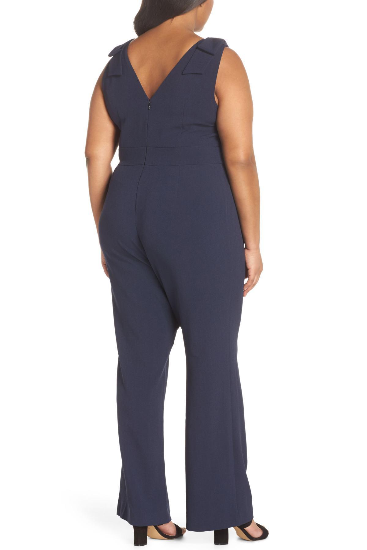 be0b7a76e85 Chelsea28 - Blue Bow Shoulder Jumpsuit (plus Size) - Lyst. View fullscreen