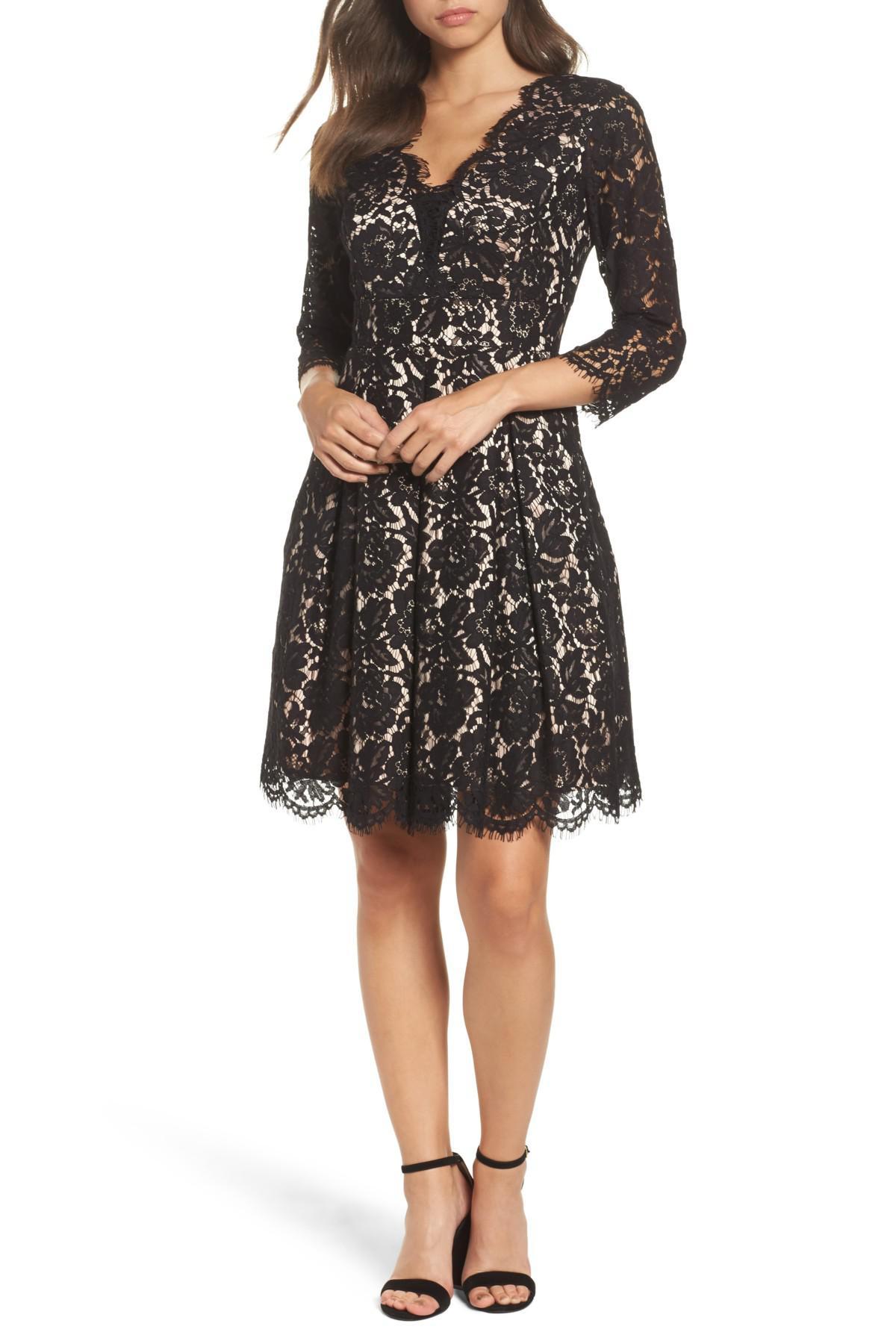 Eliza J Lace Fit Amp Flare Dress In Black Lyst