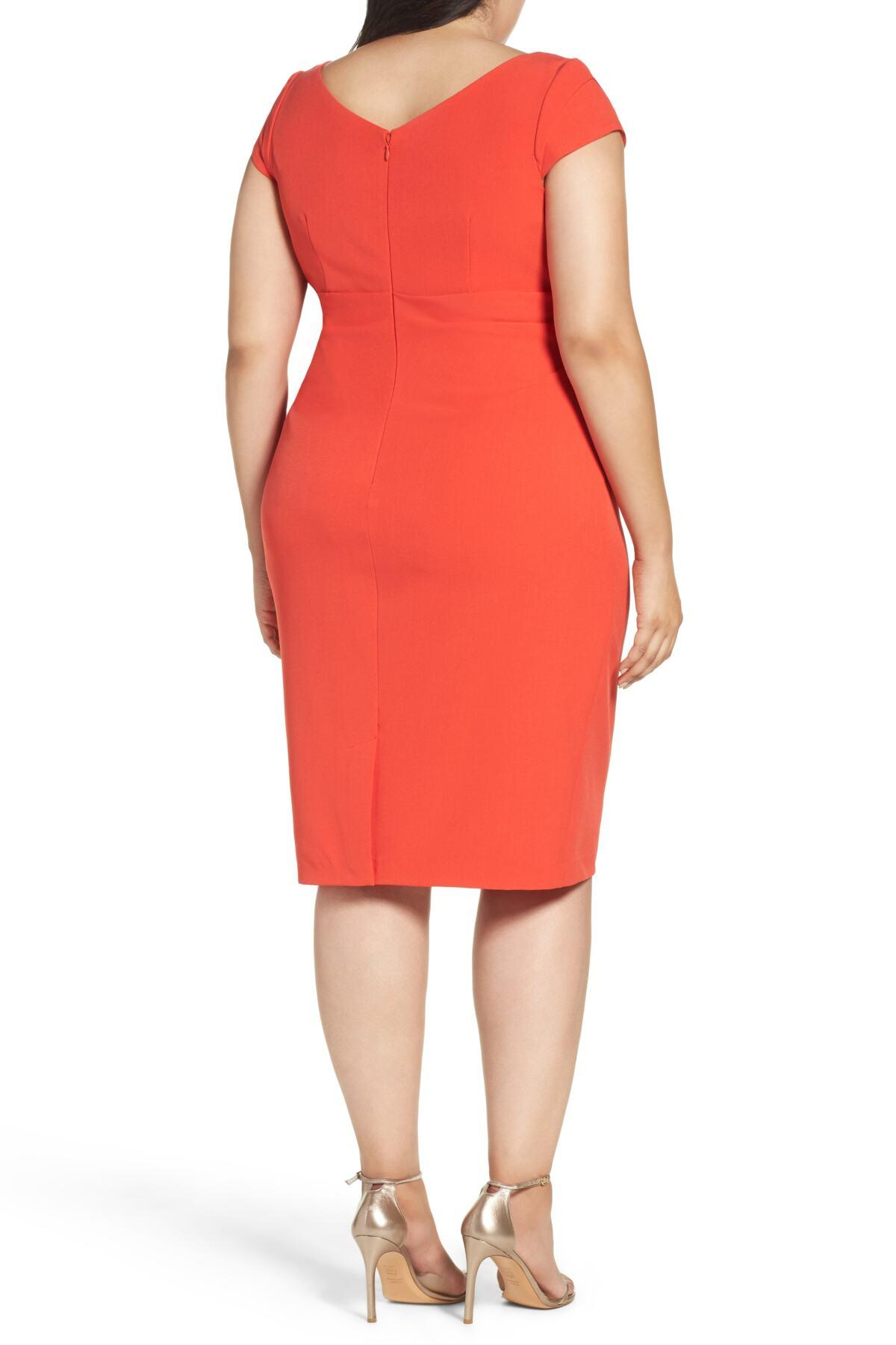 2ca282bf Adrianna Papell Draped Square Neck Sheath Dress (plus Size) in Red ...