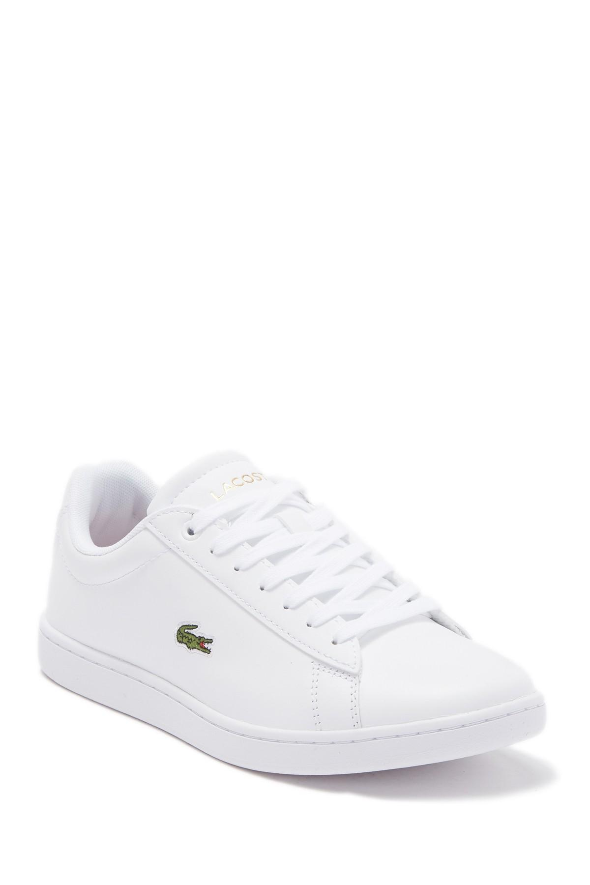 Women/'s Lacoste Sideline Leather Upper Cushioned Casual Trainers in White