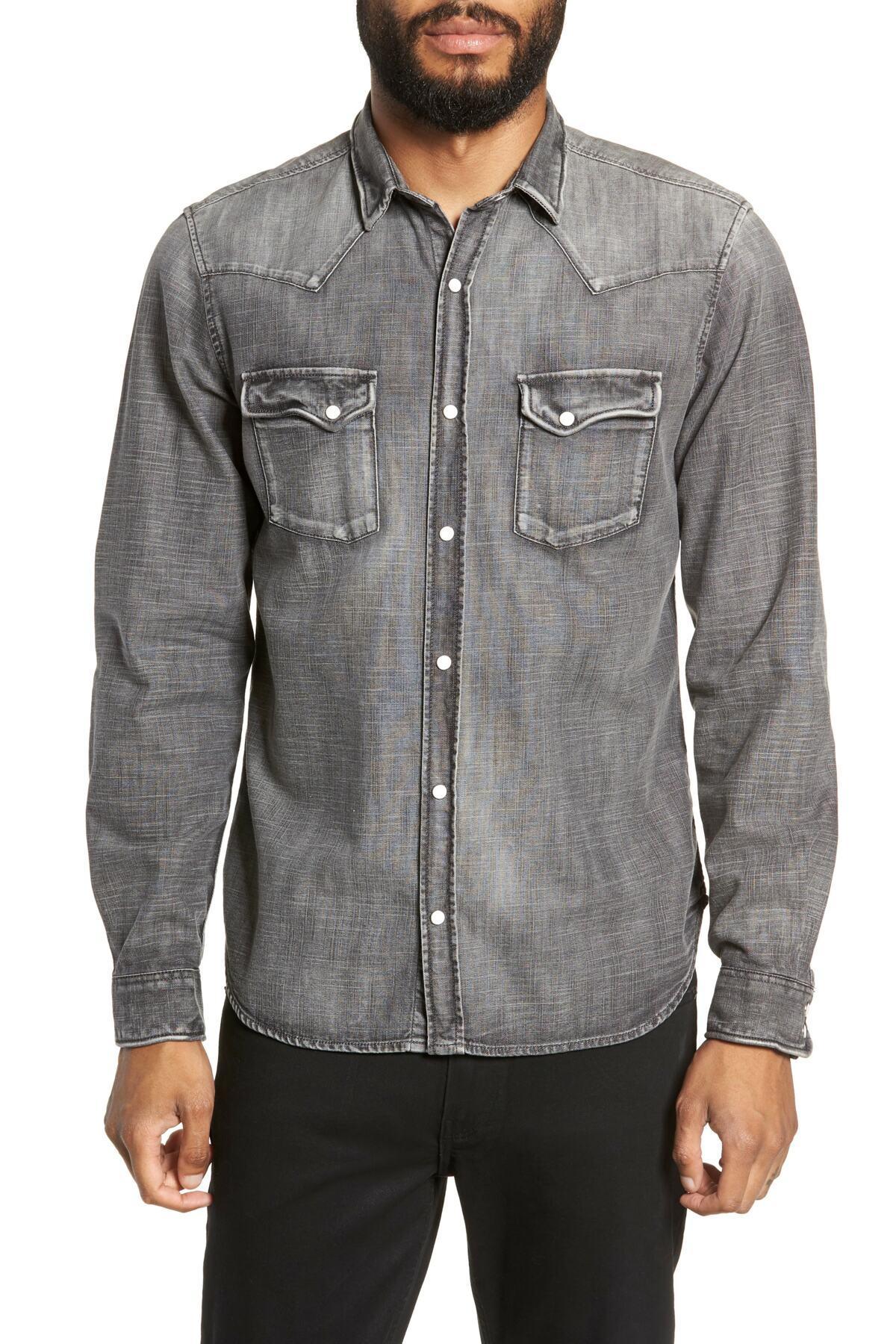 13af63230b Lyst - The Kooples Washed Trim Fit Denim Shirt in Gray for Men ...