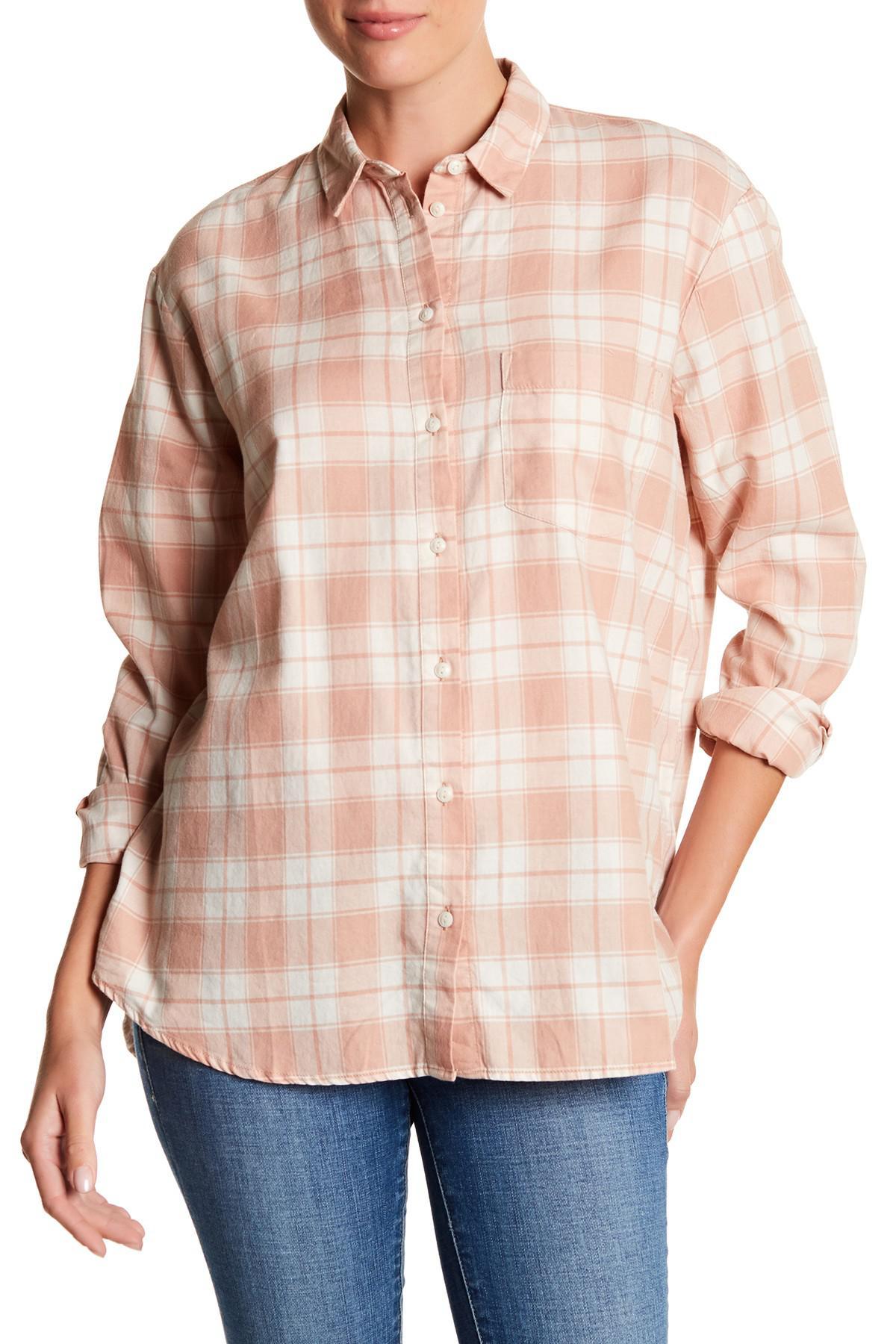 Lyst Madewell Oversized Flannel Ex Boyfriend Shirt In Pink