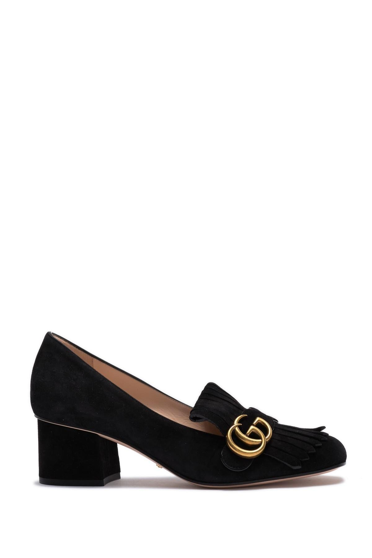 Gucci Marmont Leather Pumps in Silver