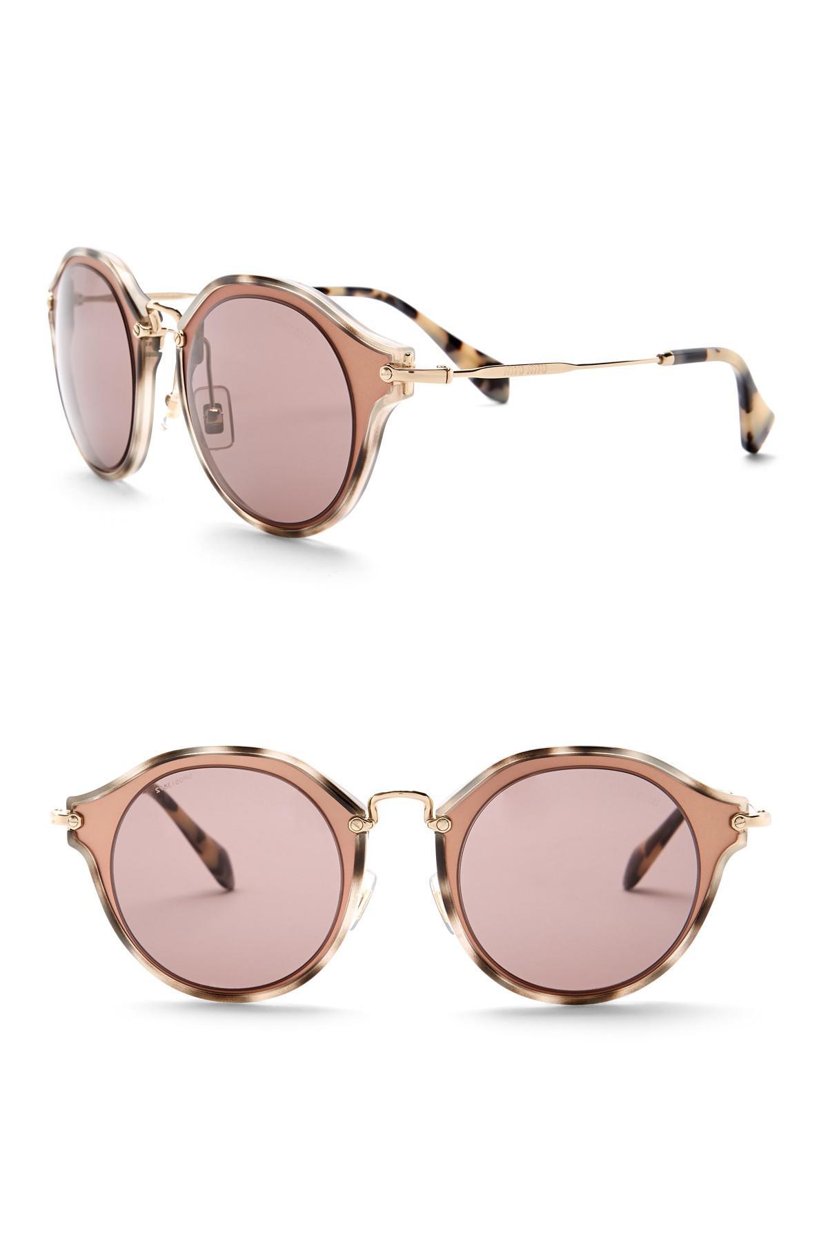 38050fa2427ac Miu Miu Round 49mm Acetate Frame Sunglasses in Pink - Lyst
