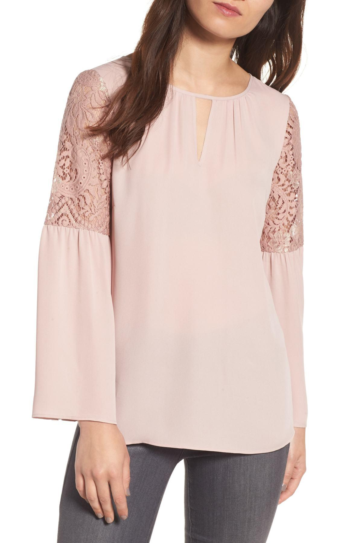 b05317b9aee0ae Lyst - Chelsea28 Lace Bell Sleeve Top in Pink