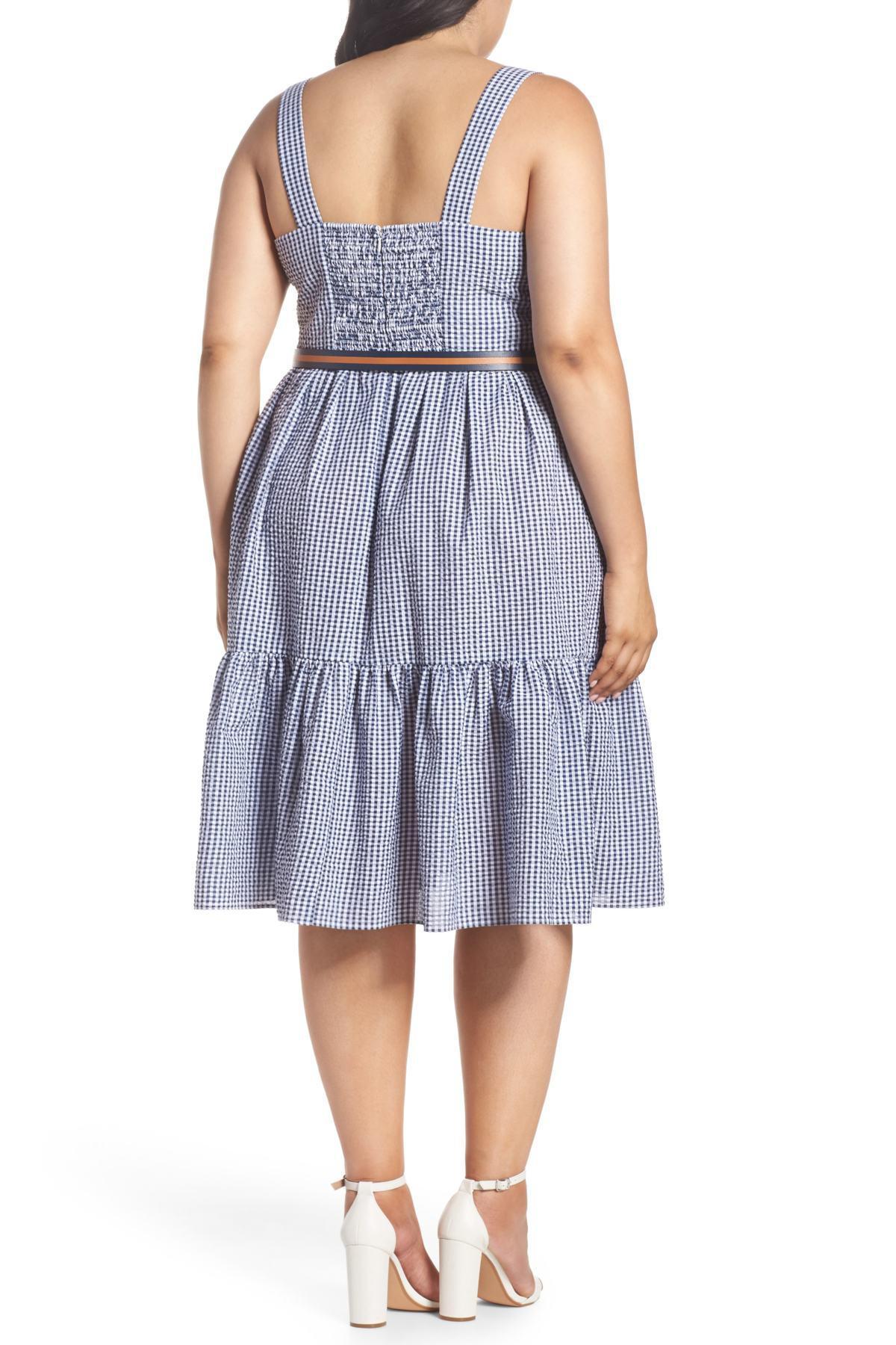 2b1543537501 Lyst - Eliza J Belted Gingham Seersucker Fit   Flare Dress (plus ...