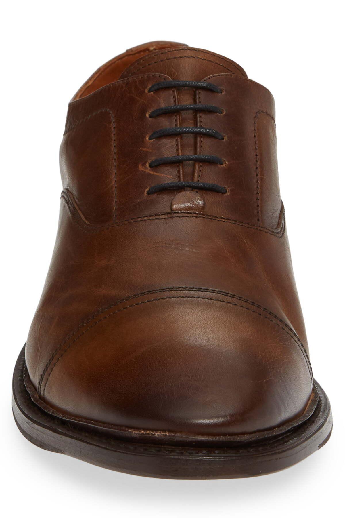 Frye Leather Paul Bal Cap Toe Oxford In Dark Brown Brown