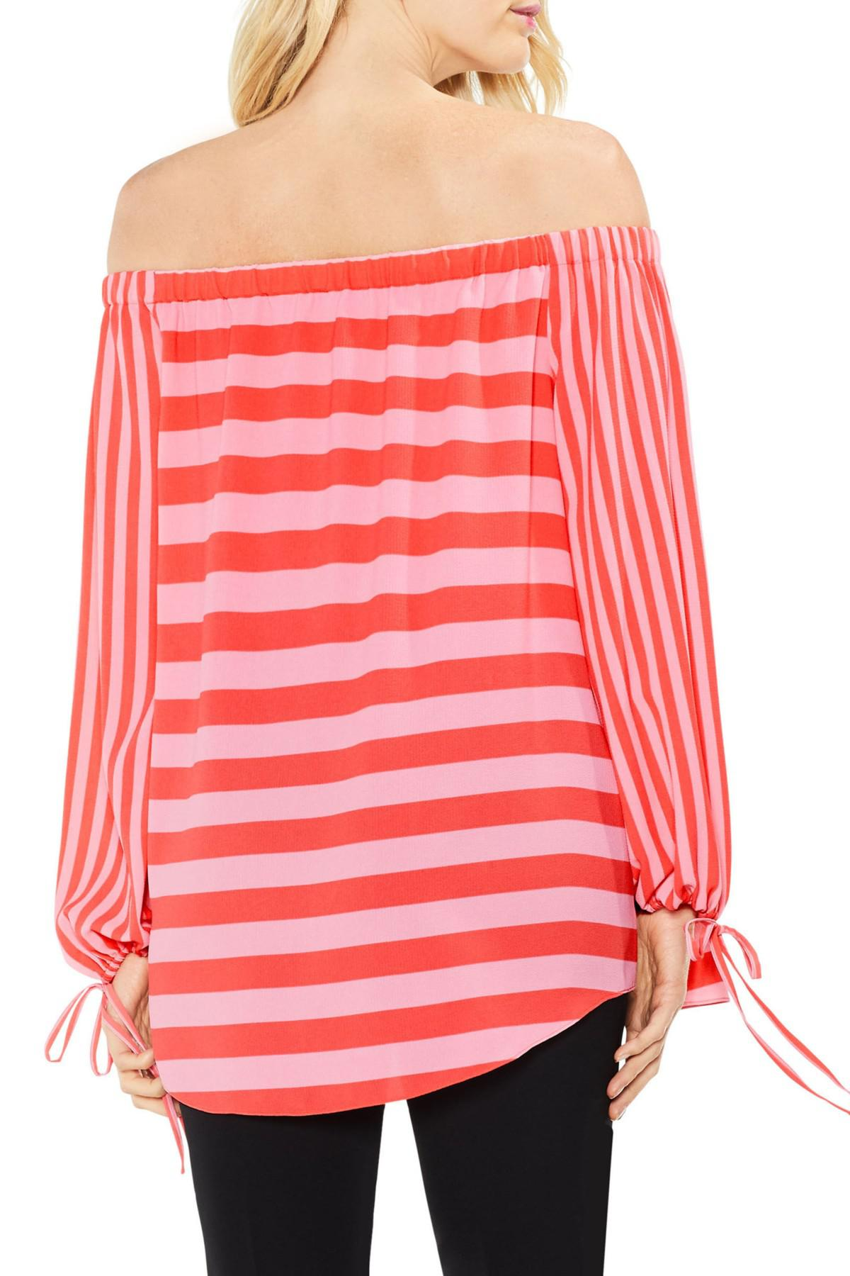 42e603a951e46 Vince Camuto - Red Off The Shoulder Even Stripe Bubble Sleeve Top - Lyst.  View fullscreen