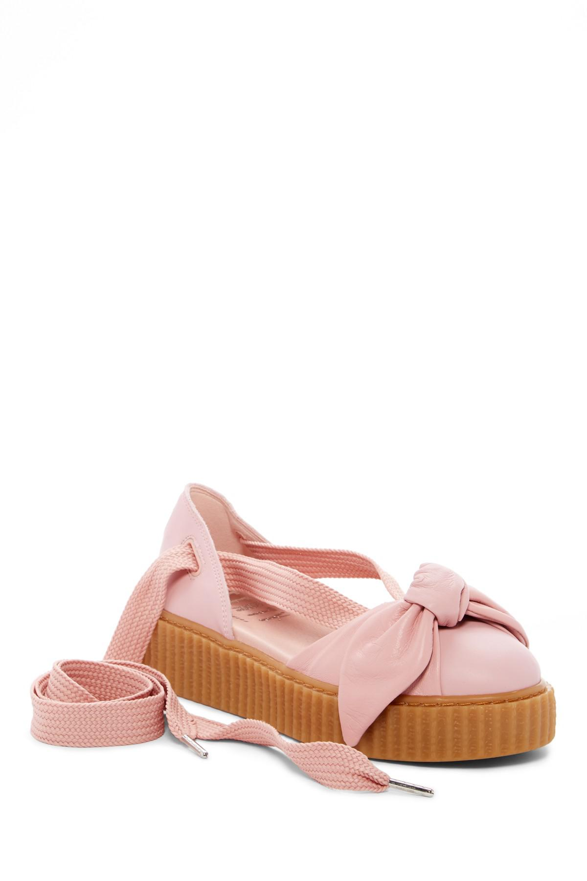 9ef5a148853291 Lyst - Puma Fenty By Rihanna Bow Leather Creeper Sandal (women) in Pink