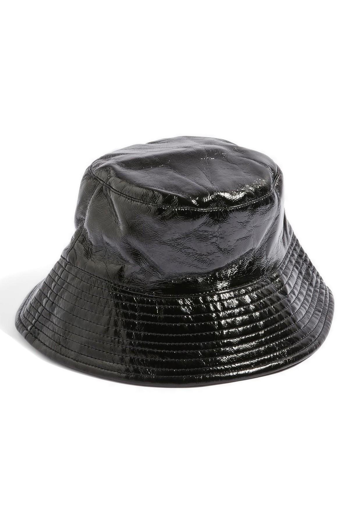 ebf4189341258 TOPSHOP Vinyl Bucket Hat in Black - Lyst