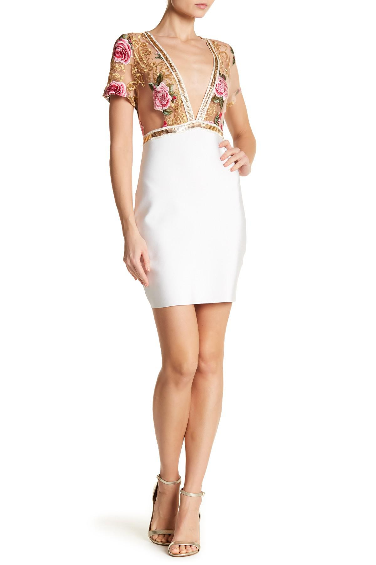 316c57ca97 Lyst - Wow Couture Floral Mesh Upper Dress in White