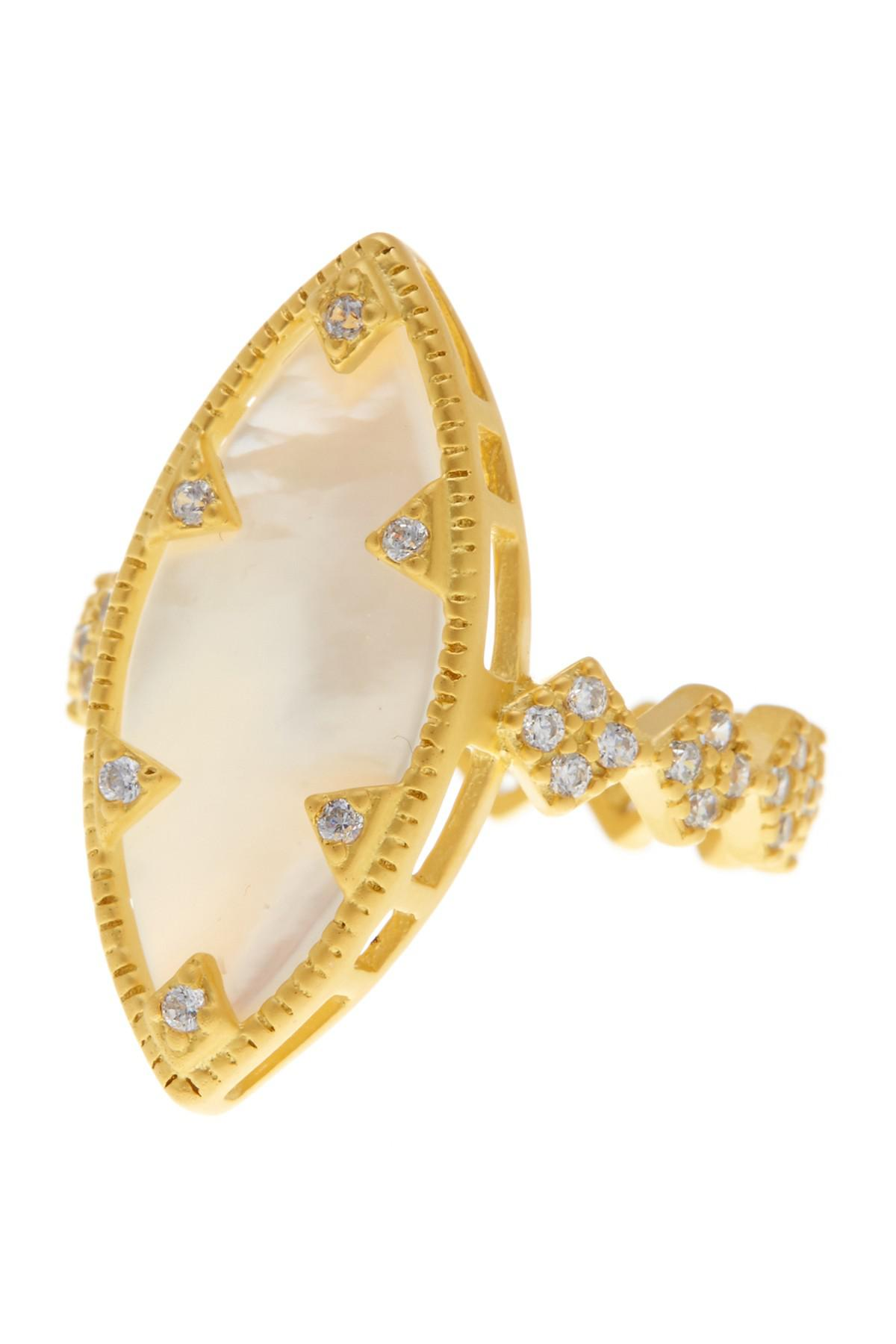 Freida Rothman Mother-of-Pearl Cabochon Ring w/ Pavé Frame, Size 6