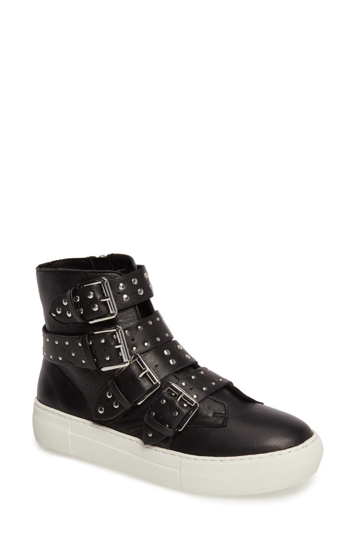 J/Slides Leather Black Aghast Studded